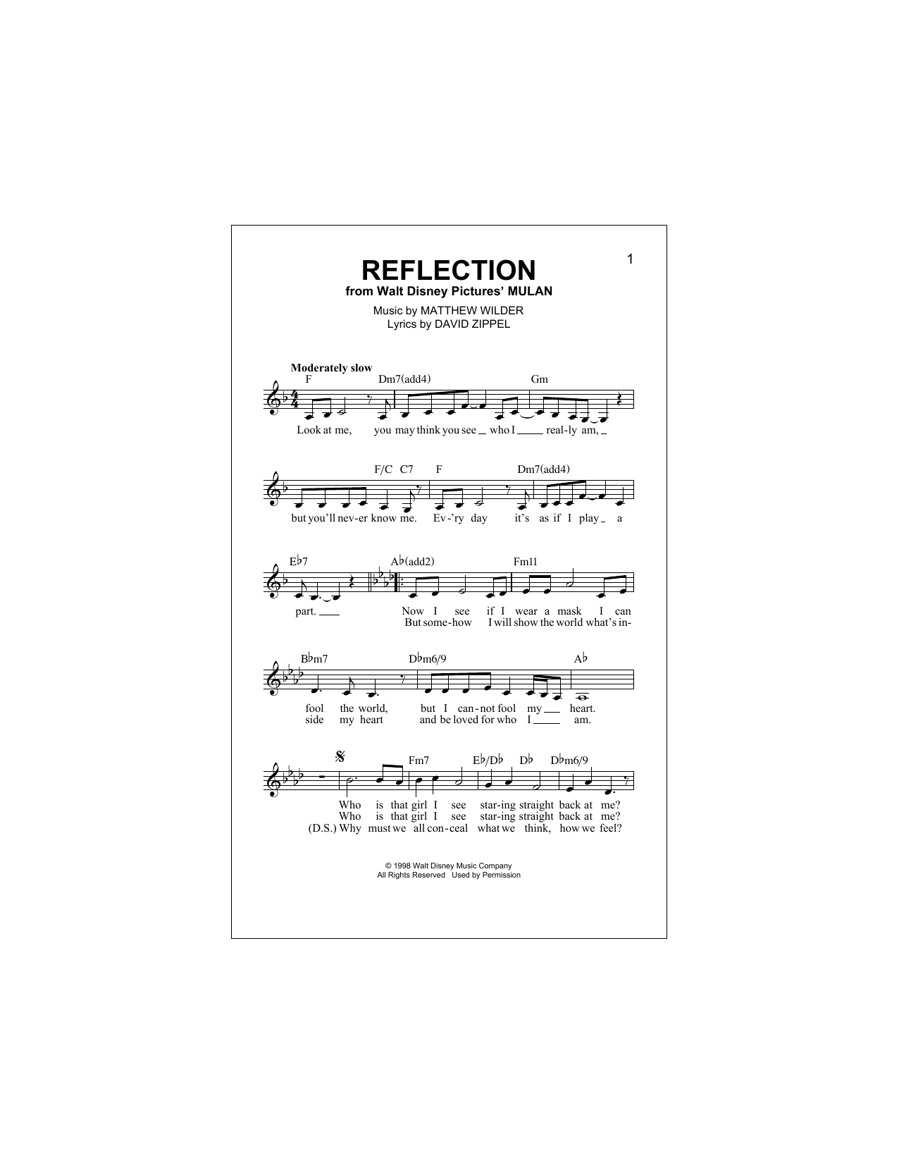 Reflection (Pop Version) (from Mulan) Partition Digitale