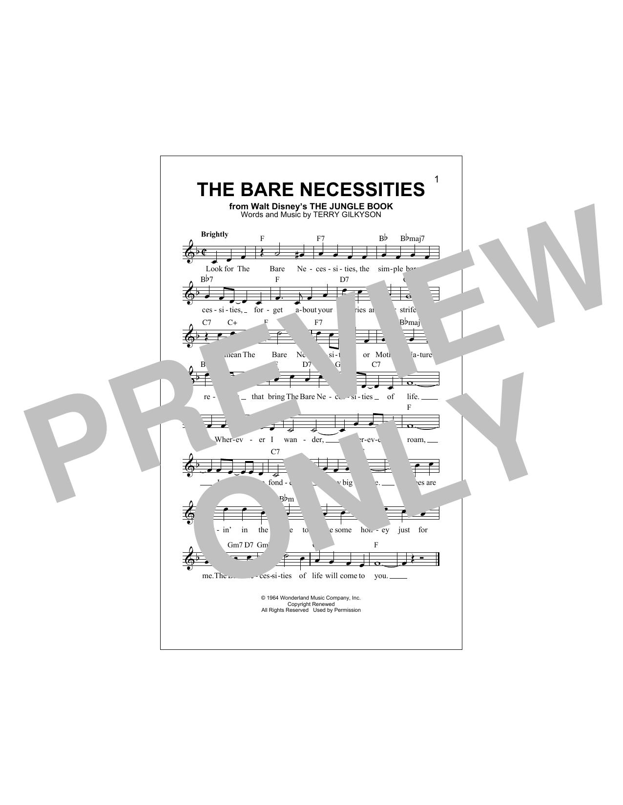 The Bare Necessities Sheet Music
