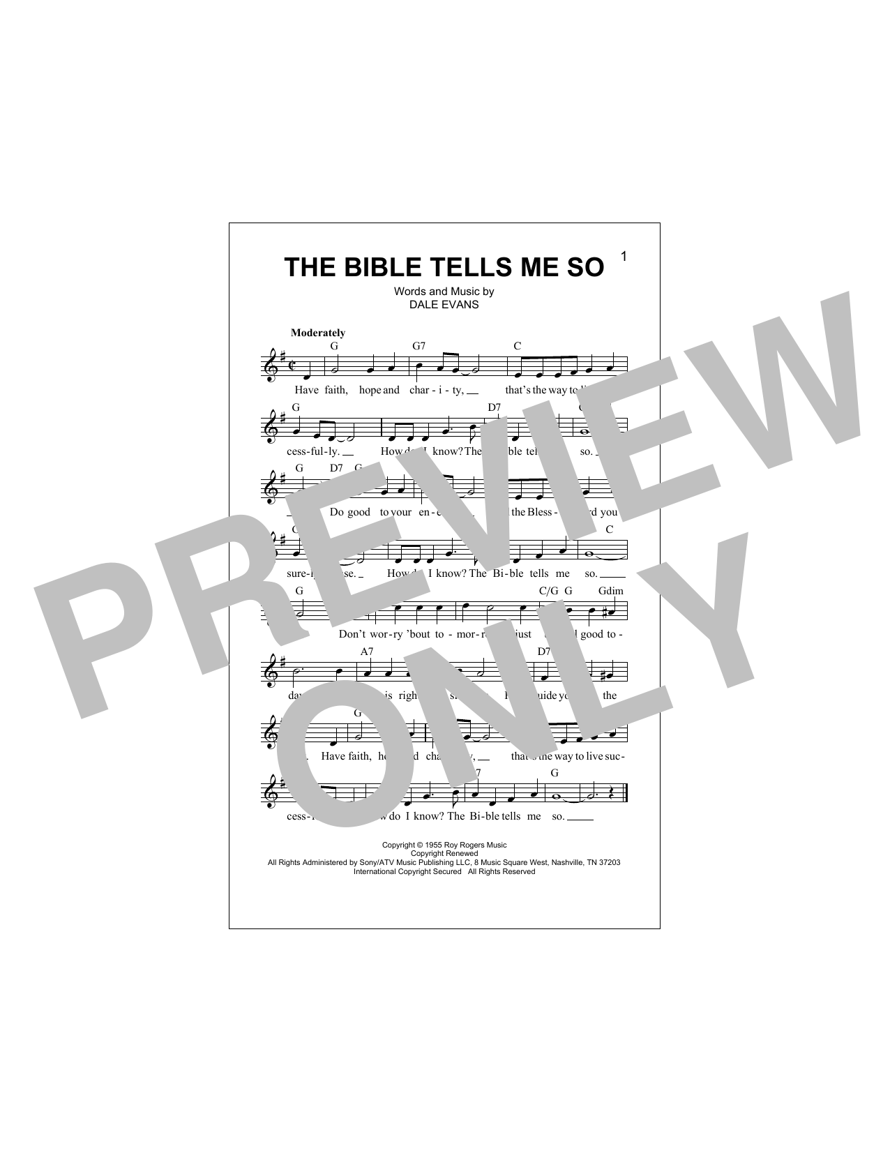 The Bible Tells Me So Sheet Music
