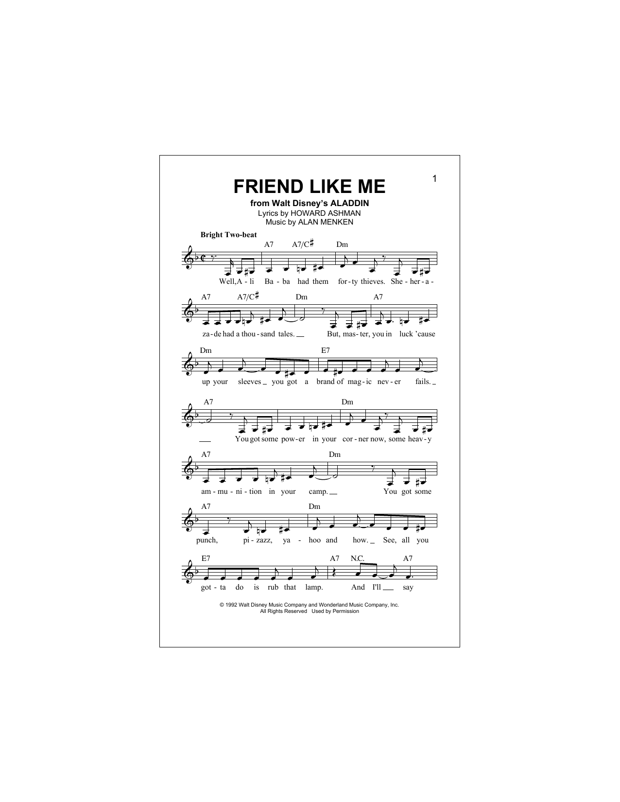 FRIEND LIKE ME Score /& Parts *NEW Sheet Music Book From Aladdin - Brass Band