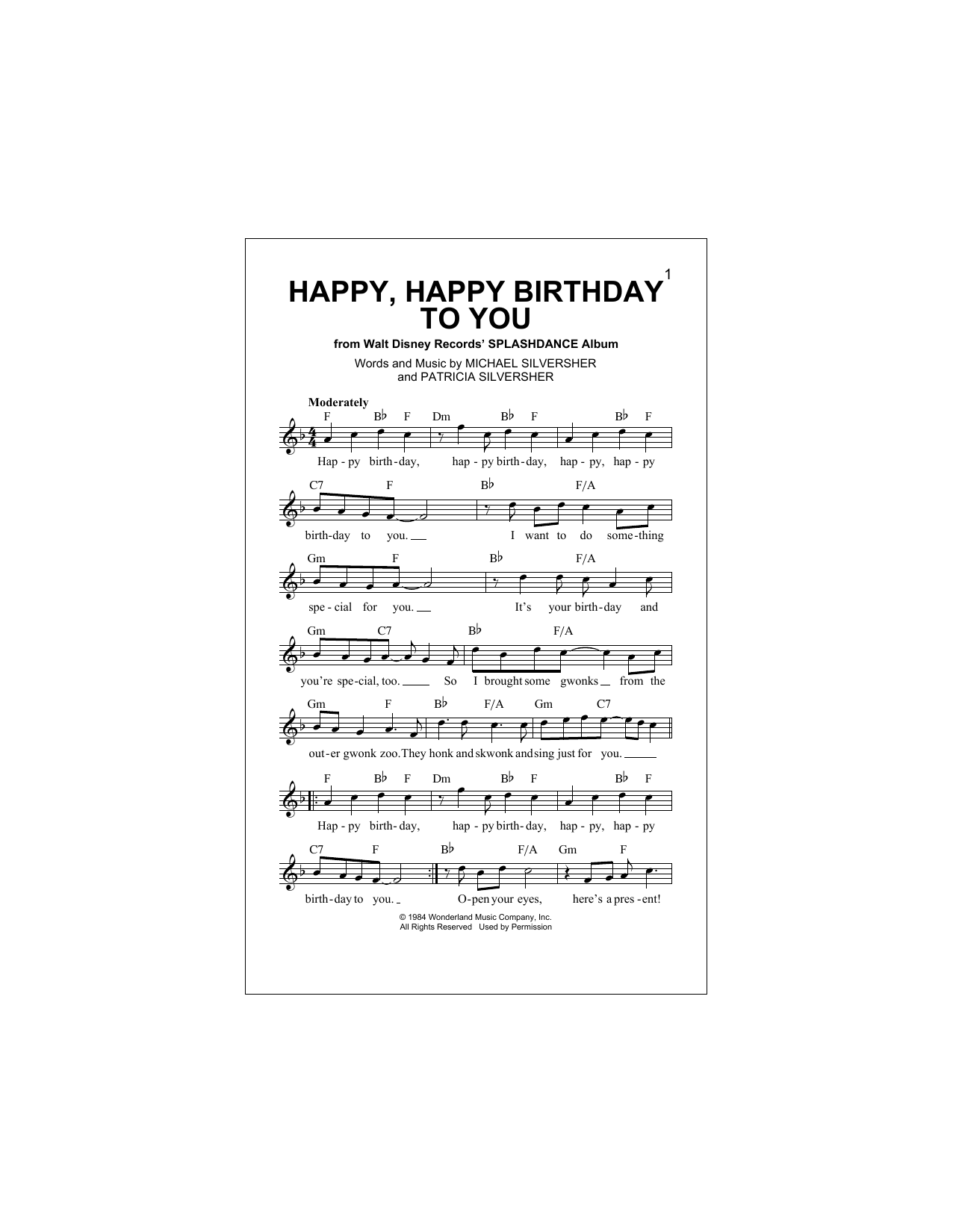 Happy, Happy Birthday To You Sheet Music