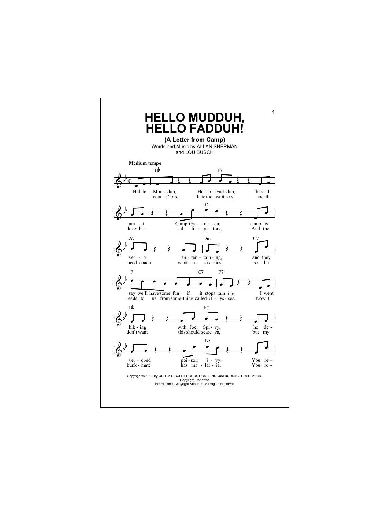 Hello Mudduh, Hello Fadduh! (A Letter From Camp) Sheet Music