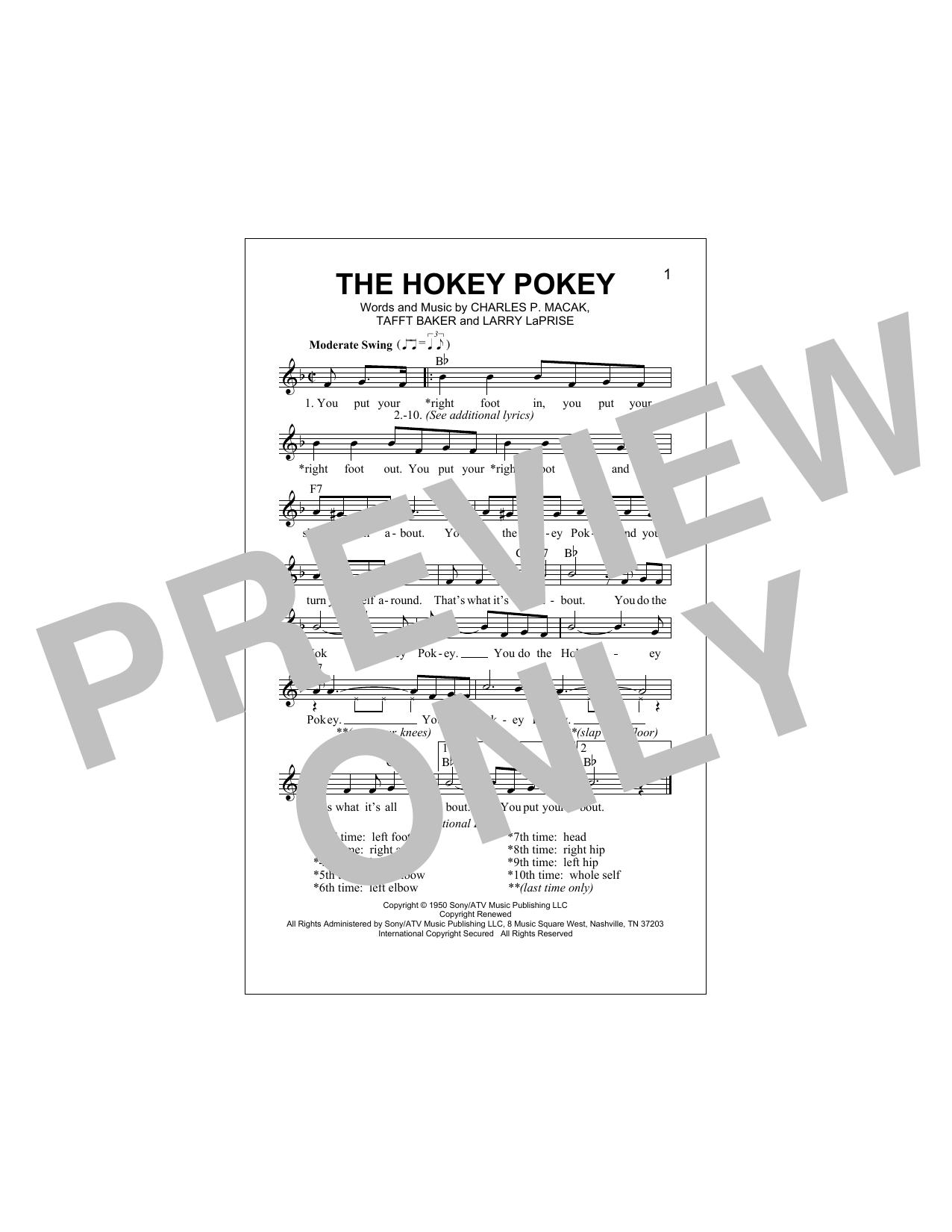 The Hokey Pokey (Lead Sheet / Fake Book)