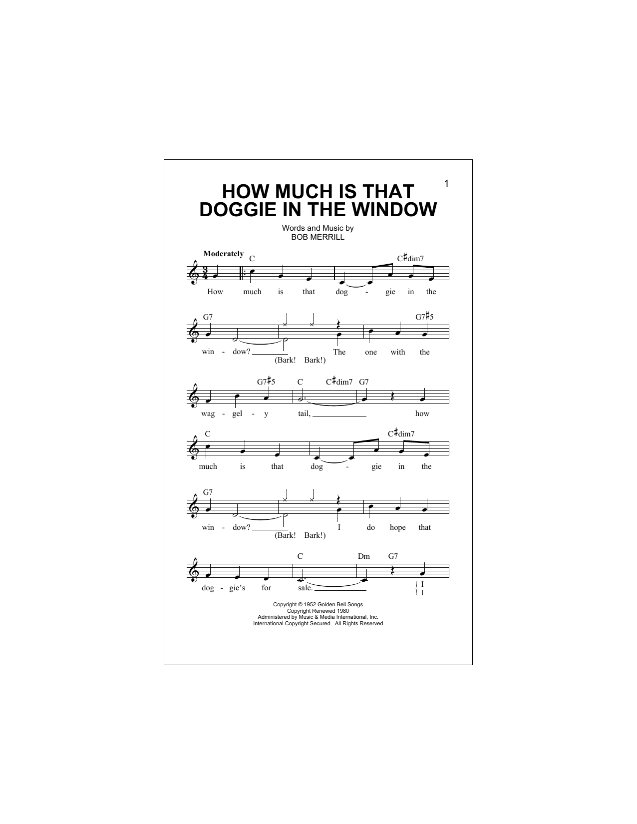 How Much Is That Doggie In The Window Sheet Music
