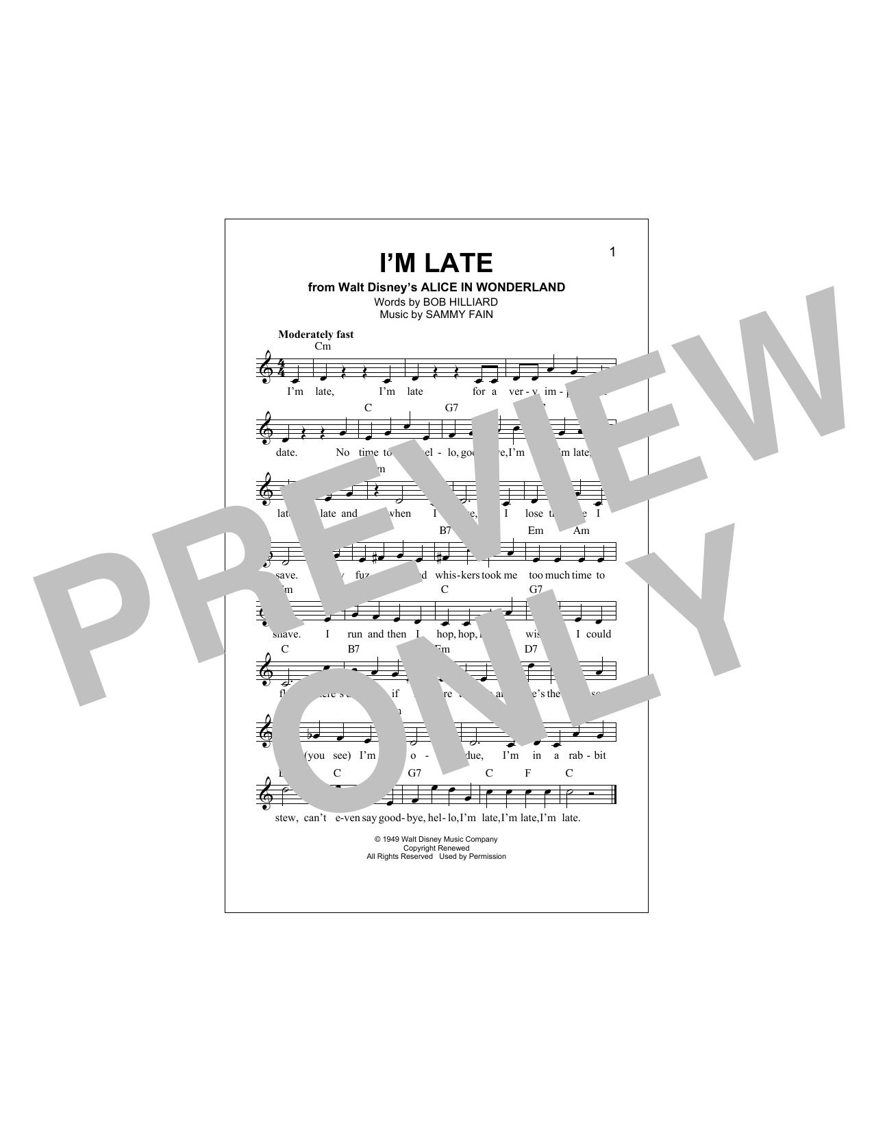 I'm Late Sheet Music
