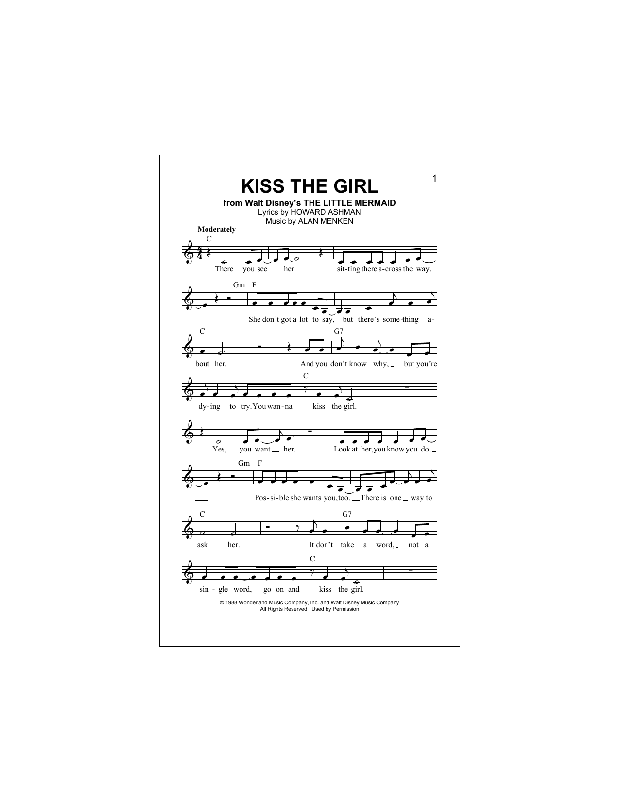 Kiss The Girl (from The Little Mermaid) Sheet Music
