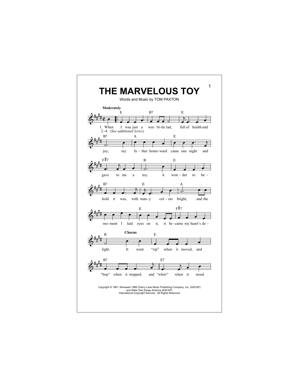 The Marvelous Toy Sheet Music