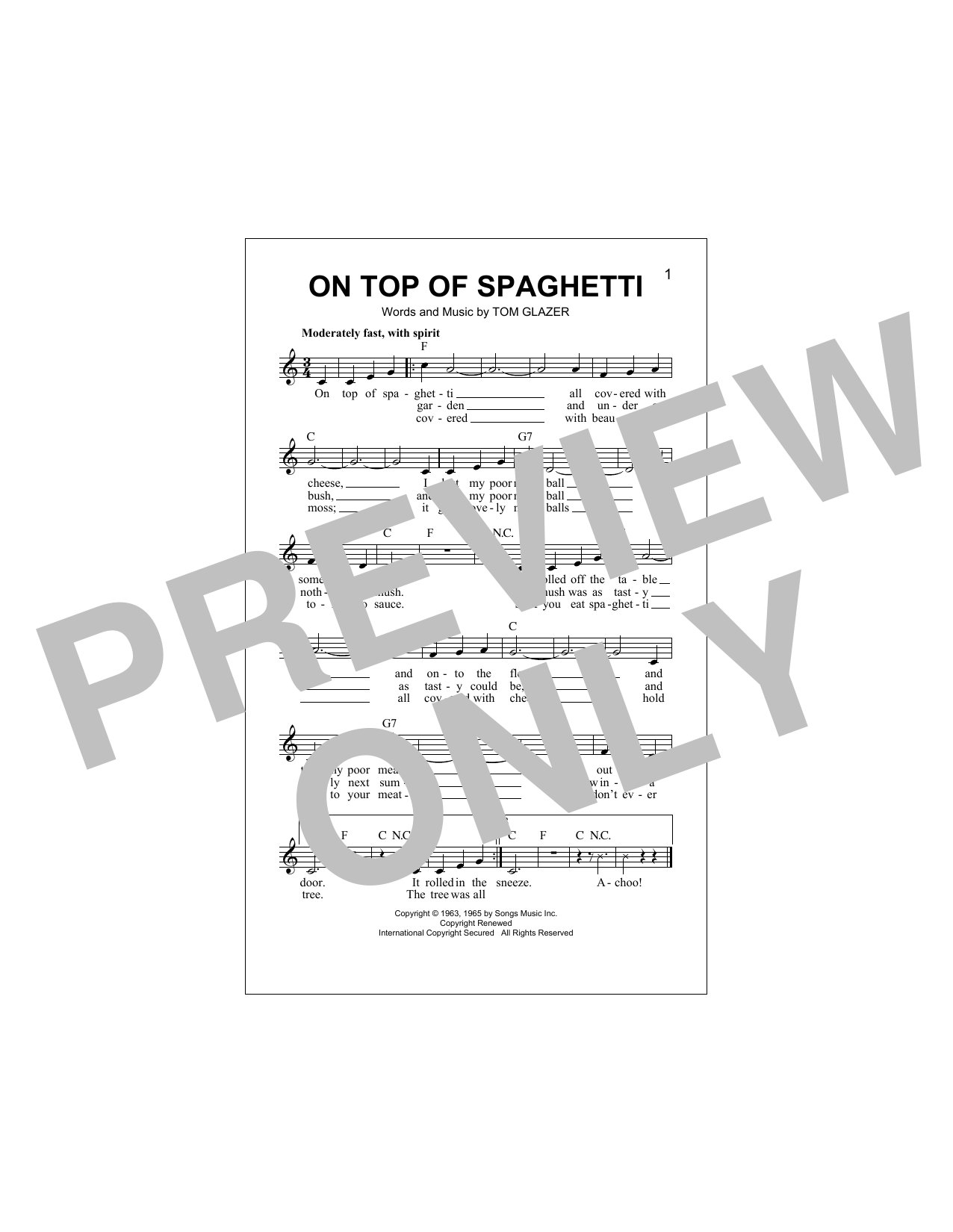 On Top Of Spaghetti Sheet Music