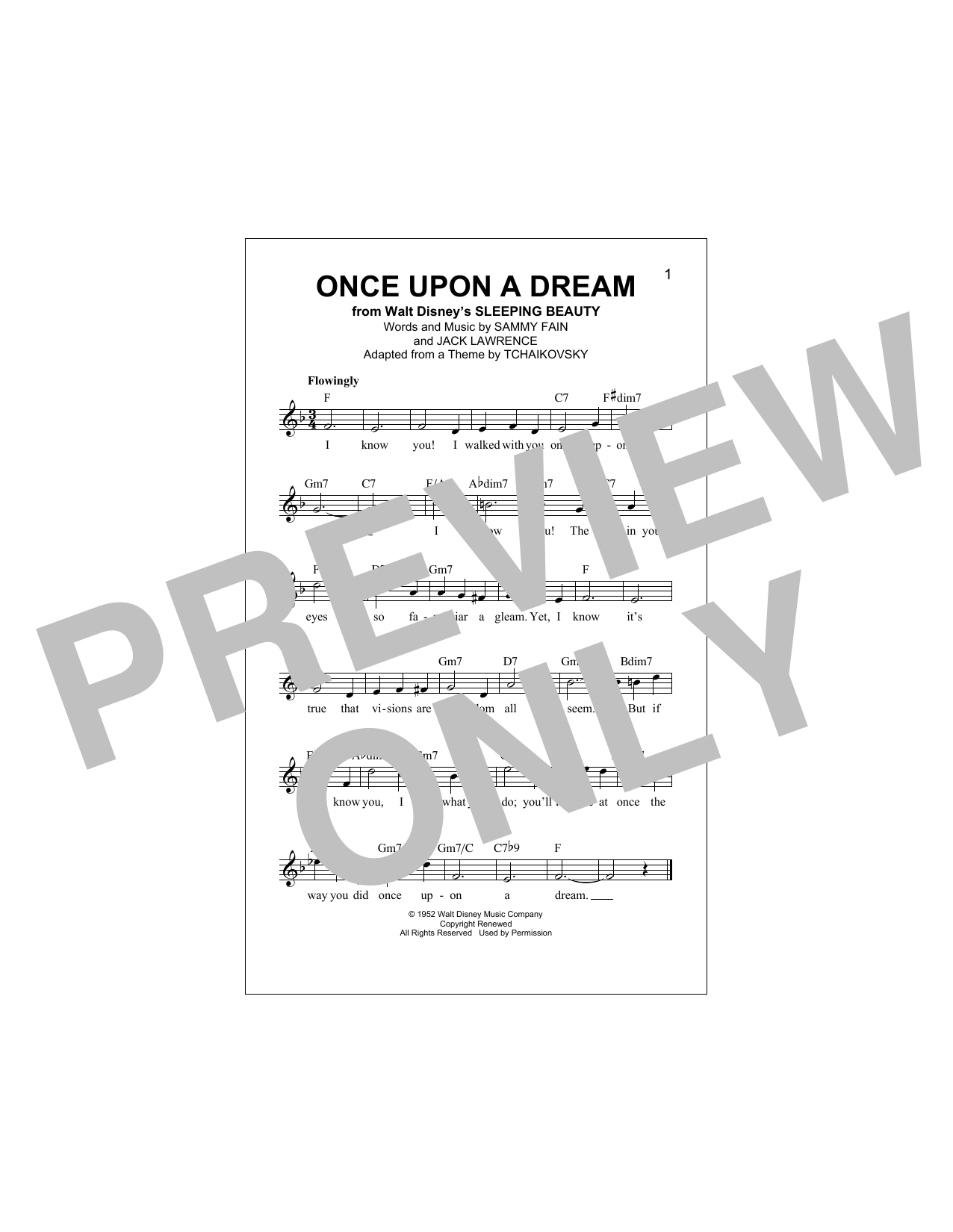 Once Upon A Dream (Lead Sheet / Fake Book)