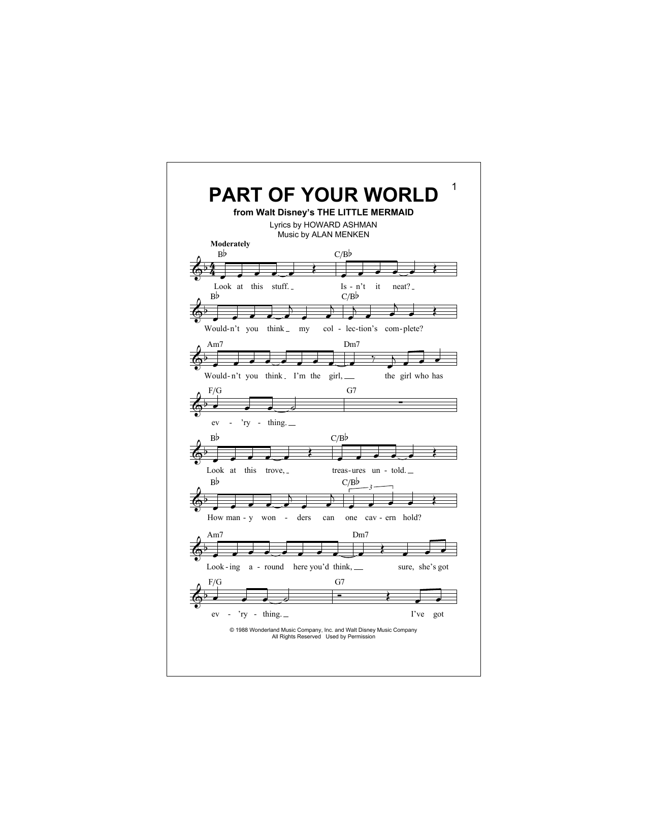 Part Of Your World Partition Digitale