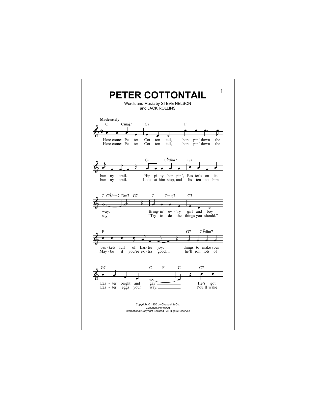 Peter Cottontail Sheet Music