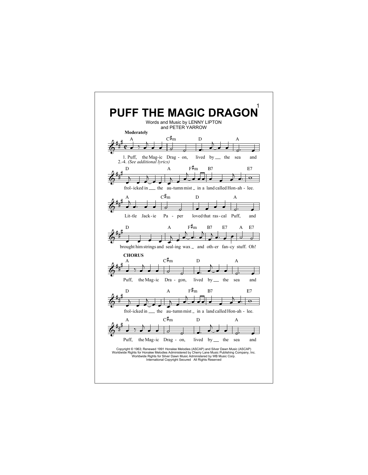 Puff The Magic Dragon Peter Paul Mary Melody Line Lyrics