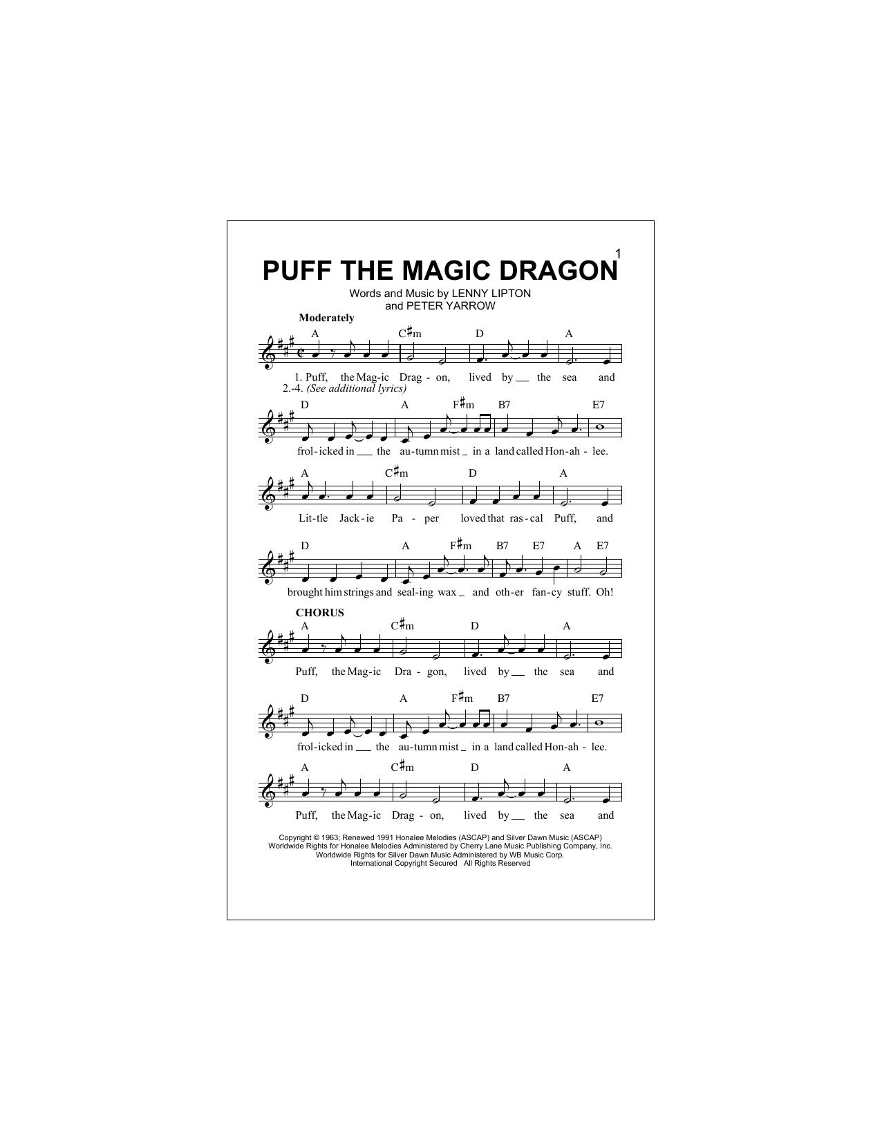 Puff The Magic Dragon Sheet Music