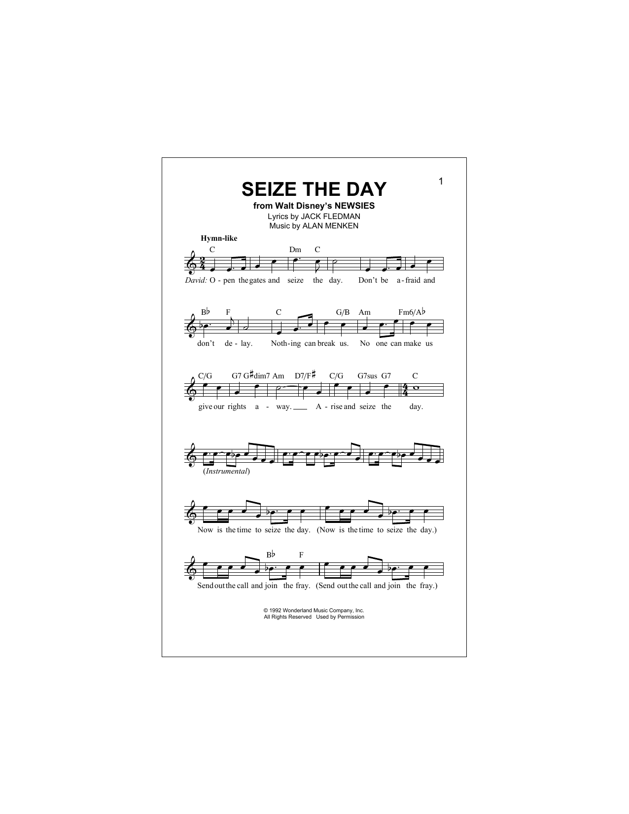 Seize The Day (from Newsies) Sheet Music