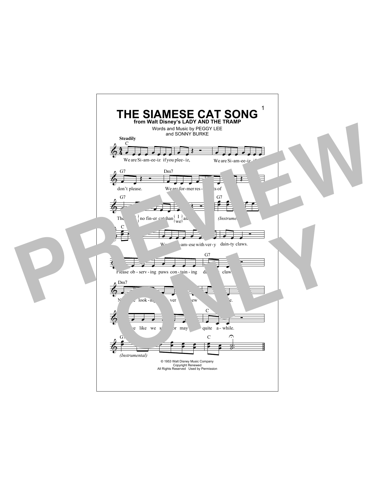 The Siamese Cat Song (from Lady And The Tramp) Sheet Music