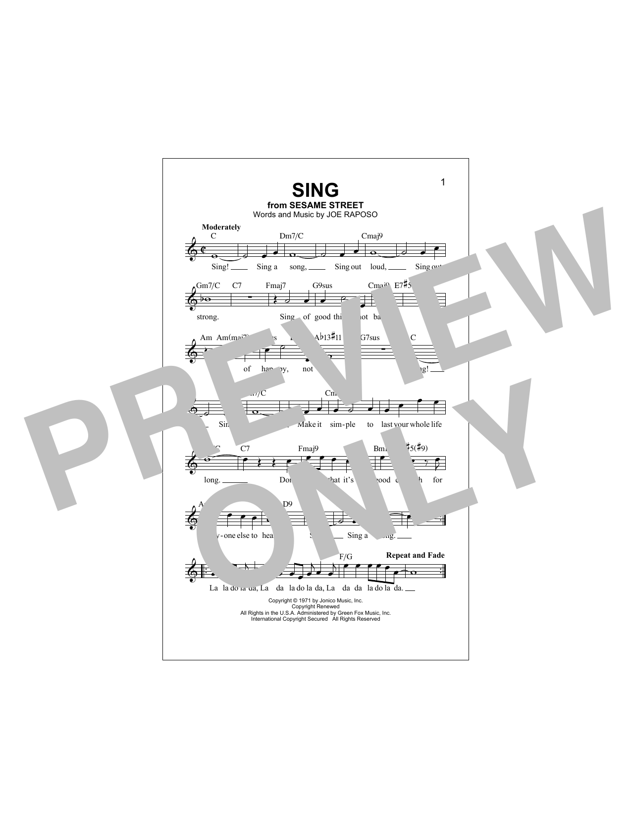Sing Sheet Music