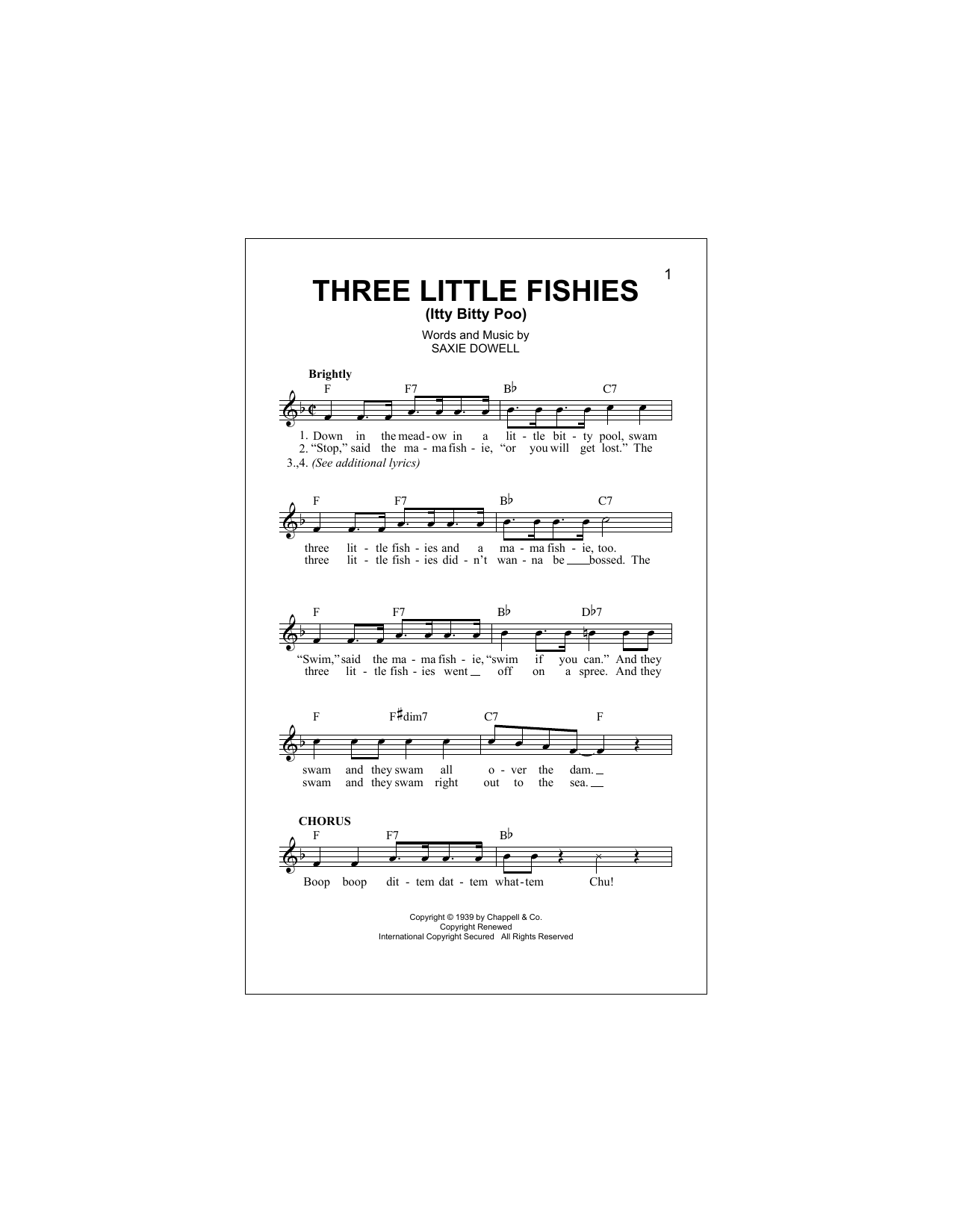 Three Little Fishies Sheet Music