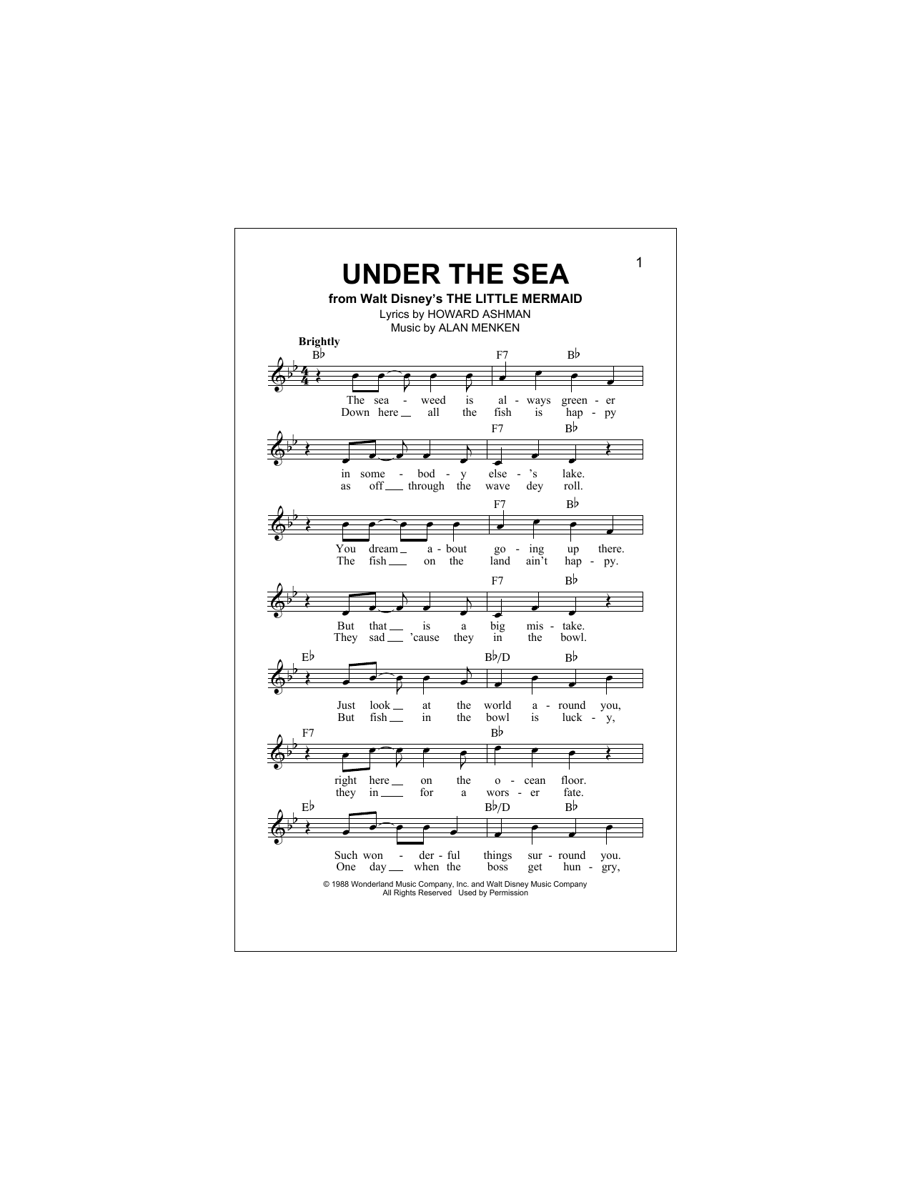 Under The Sea (Lead Sheet / Fake Book)