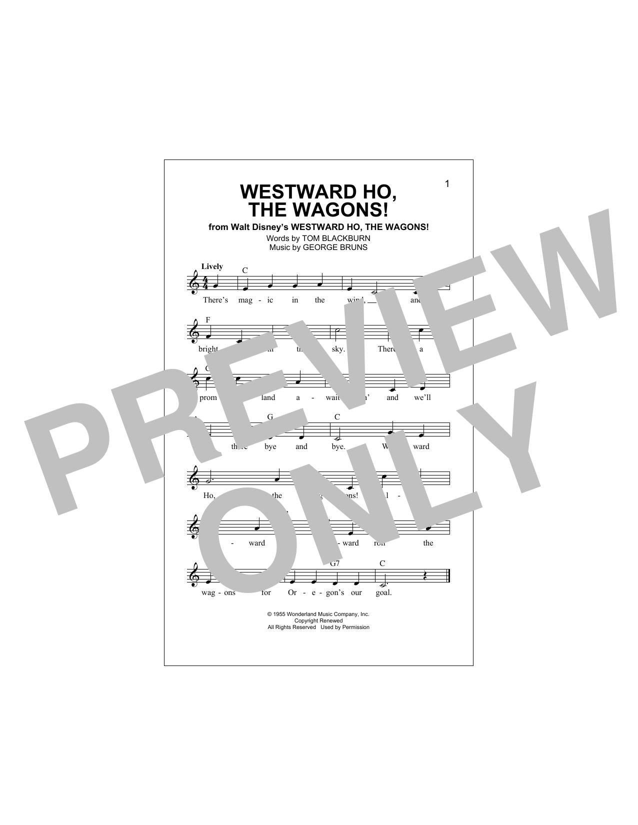 Westward Ho, The Wagons! Sheet Music