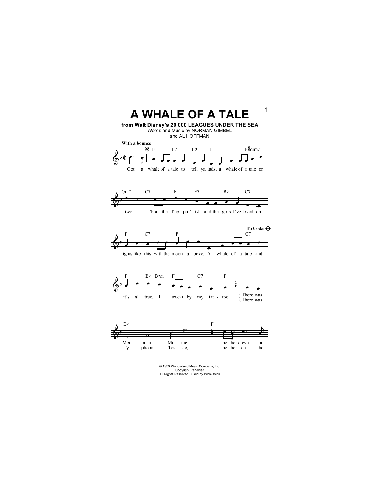 A Whale Of A Tale (Lead Sheet / Fake Book)