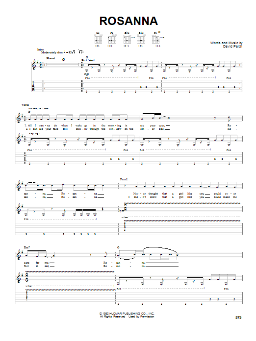 Rosanna by Toto - Guitar Tab - Guitar Instructor