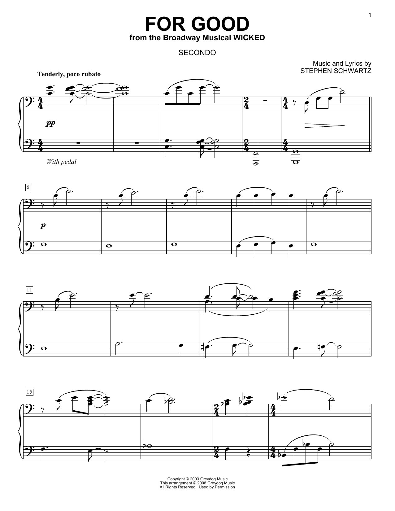 For Good (from Wicked) (arr. Carol Klose) Sheet Music
