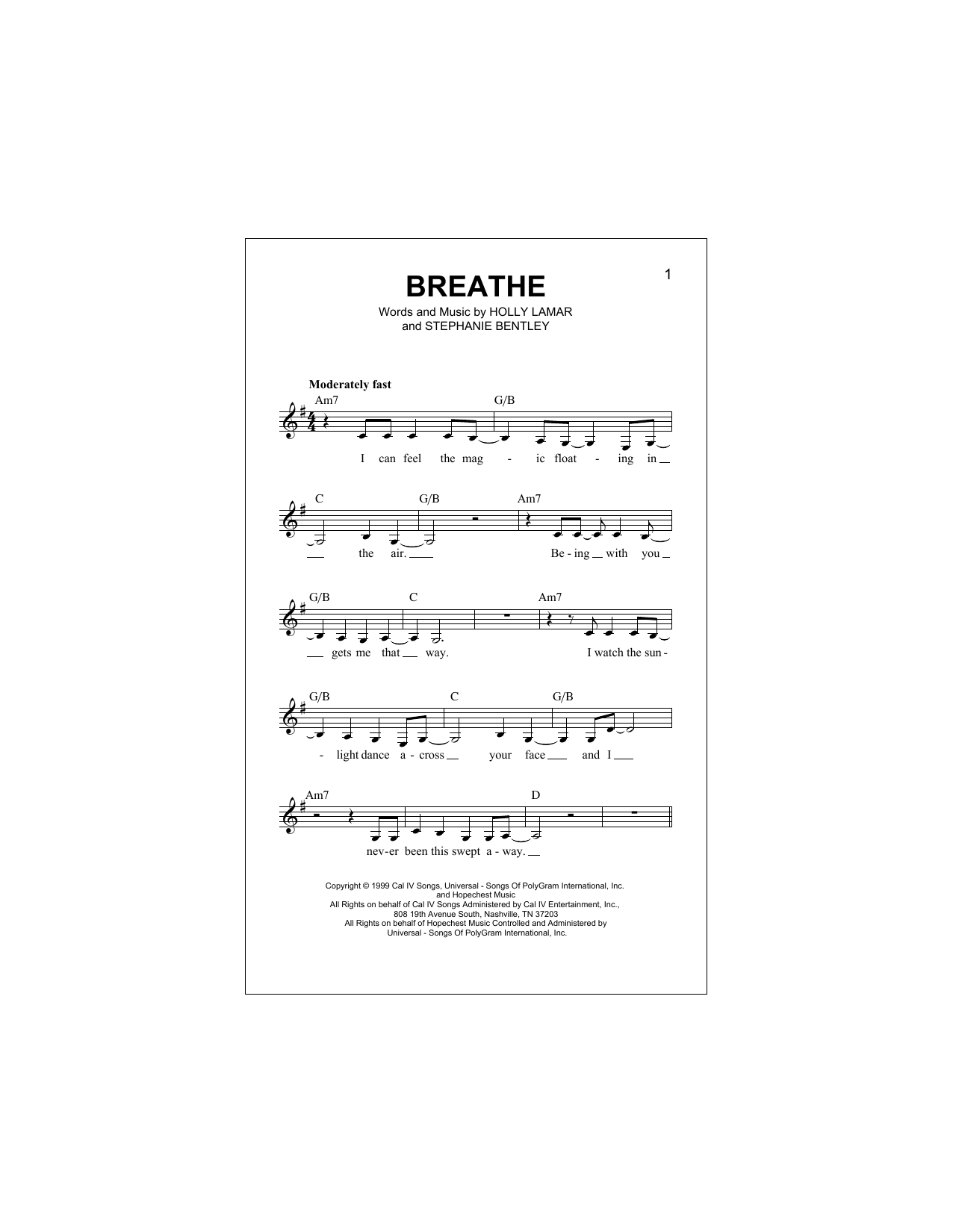 Breathe (Lead Sheet / Fake Book)