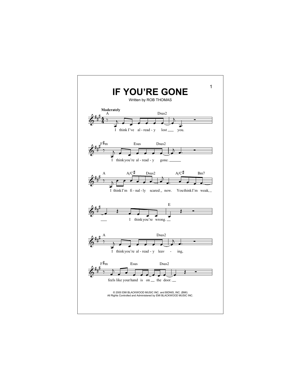 If You're Gone (Lead Sheet / Fake Book)