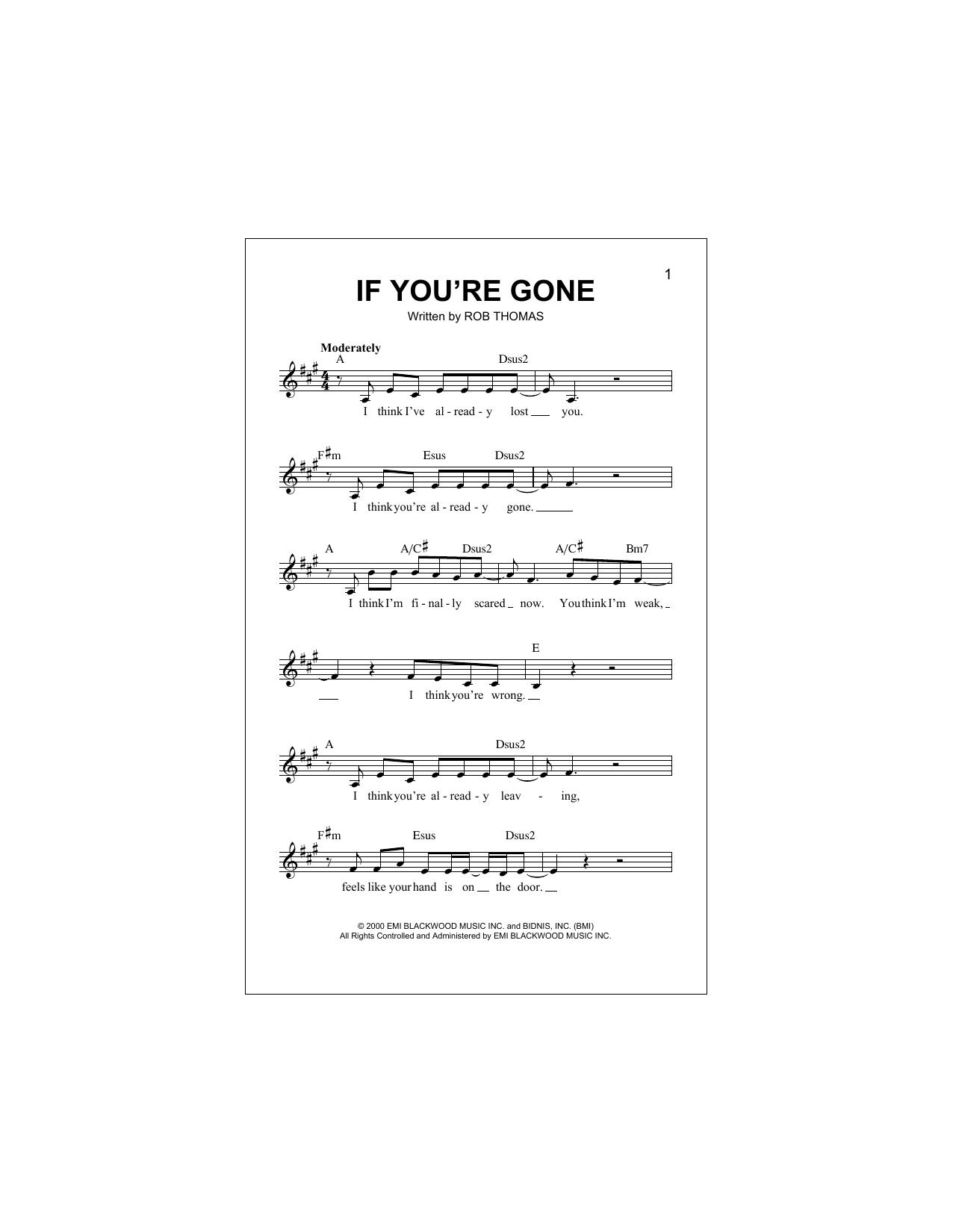 If You're Gone Sheet Music