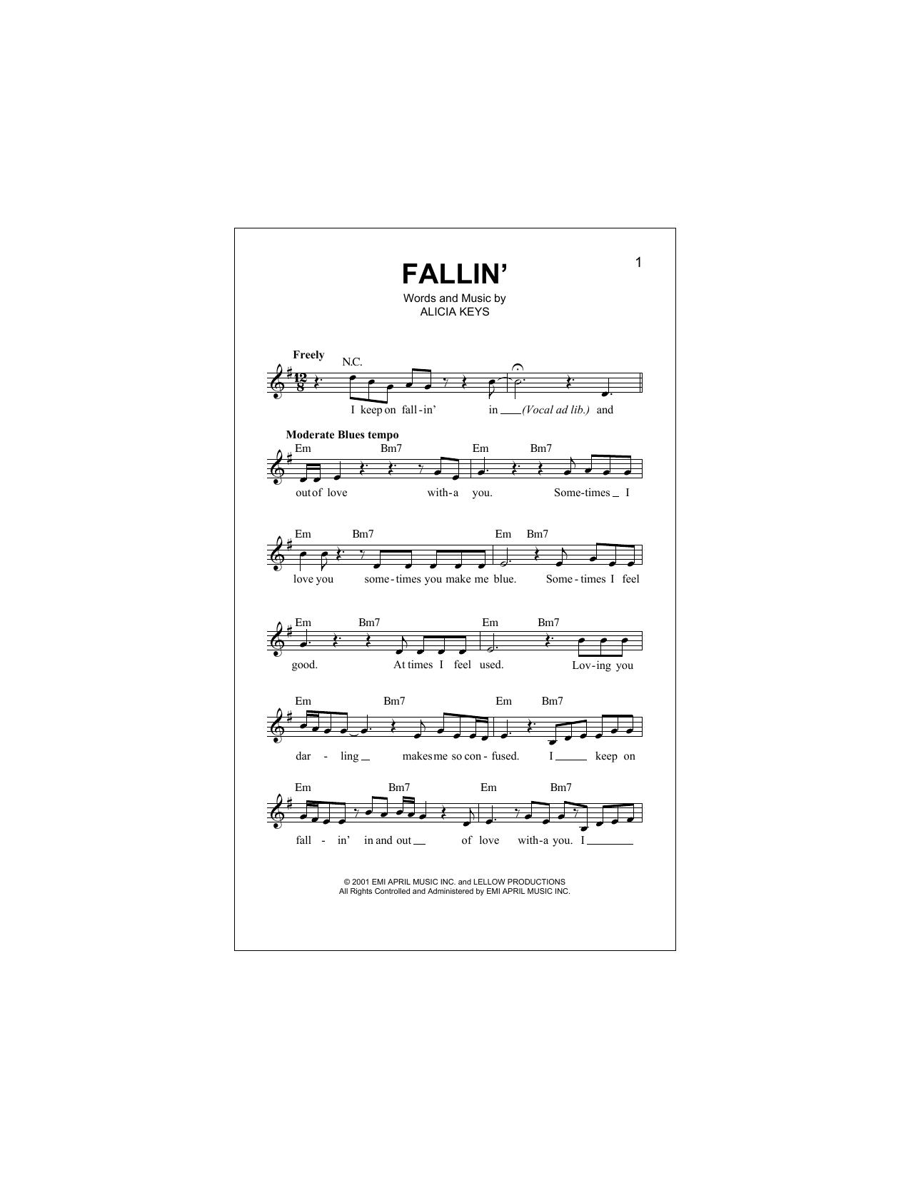 Fallin' Sheet Music