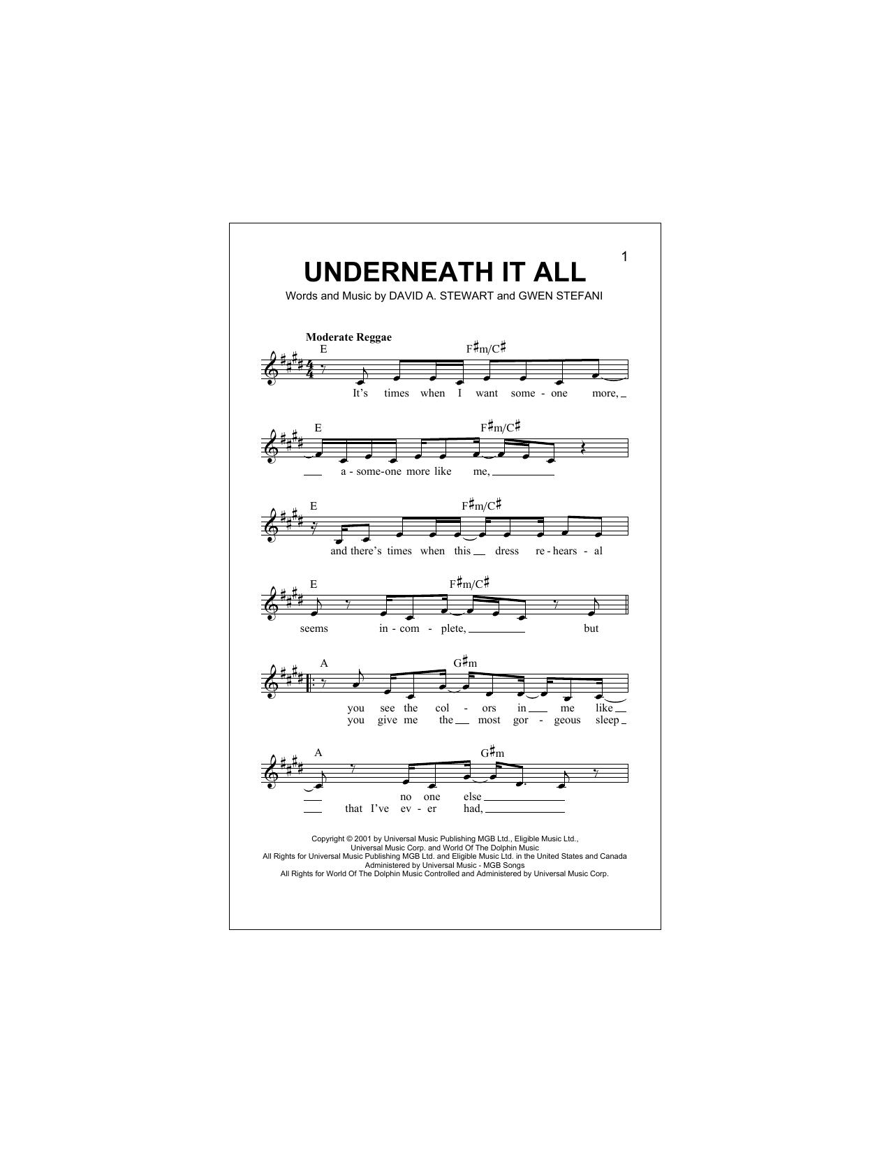Underneath It All Sheet Music