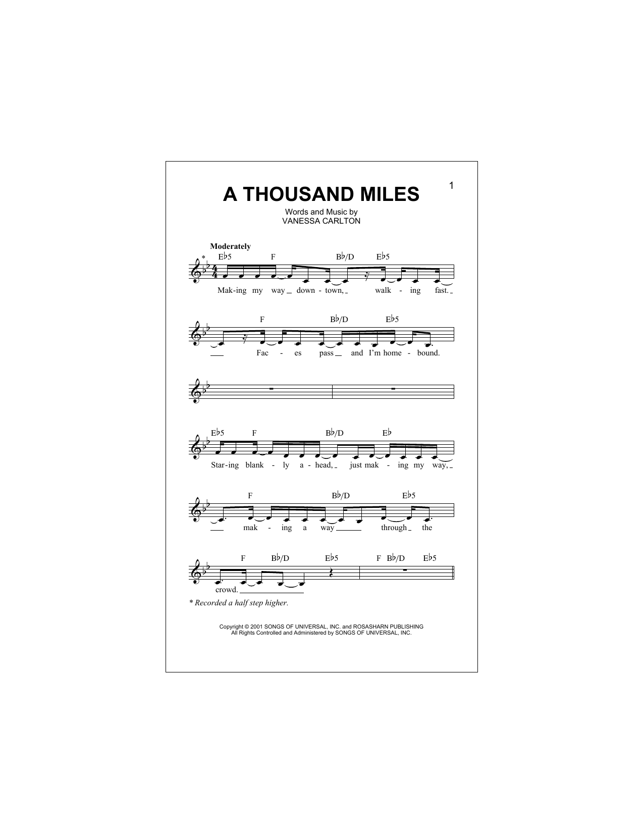 A Thousand Miles (Lead Sheet / Fake Book)