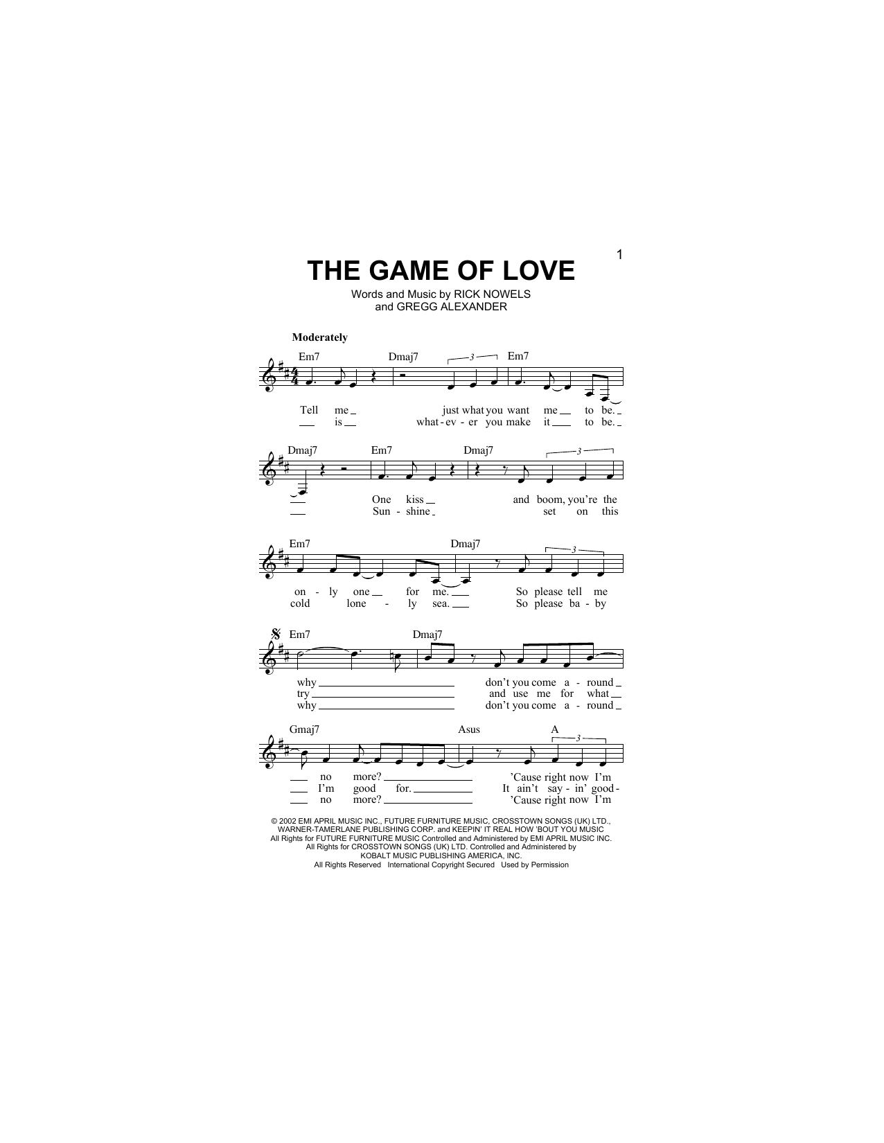 The Game Of Love (feat. Michelle Branch) Sheet Music