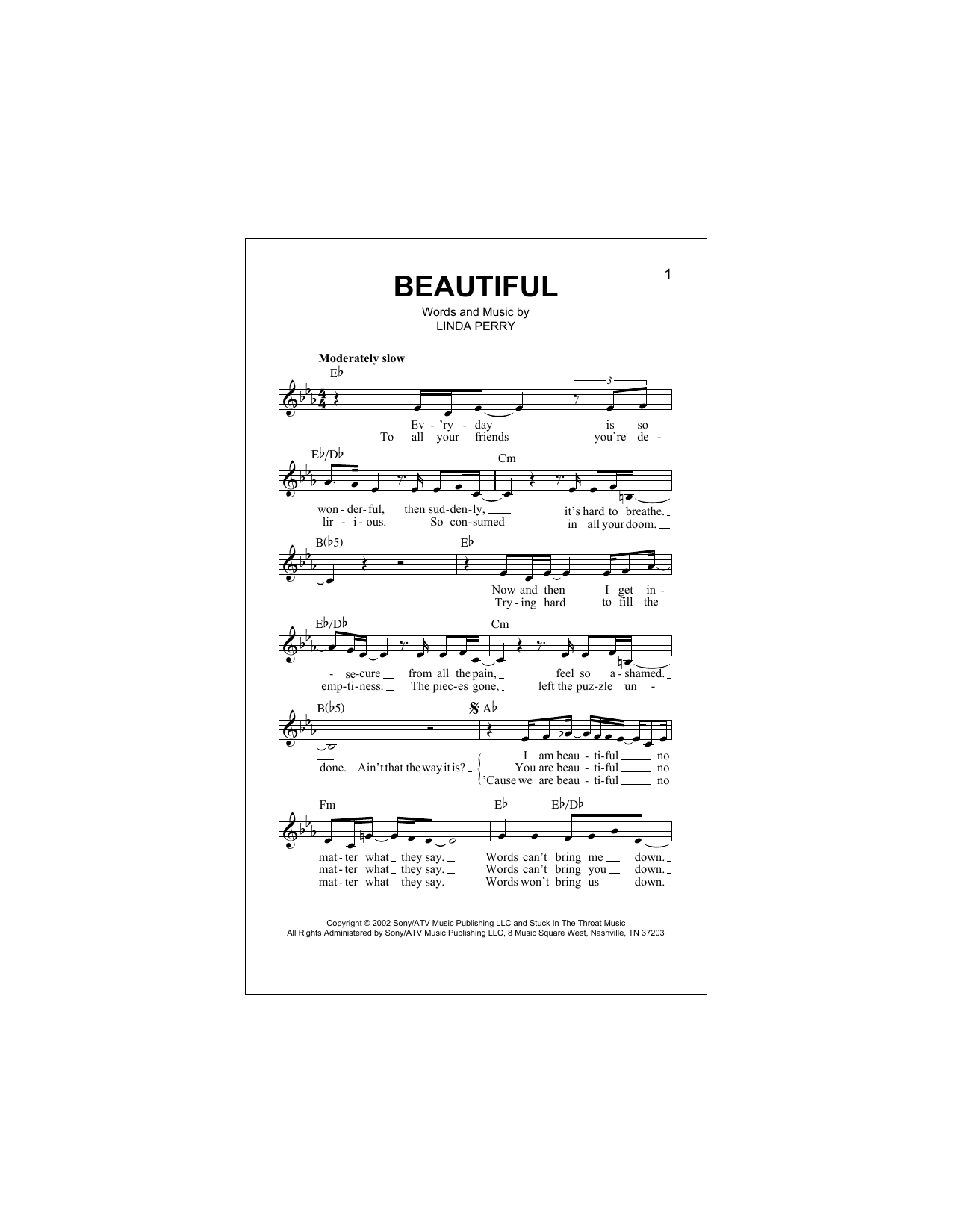 Beautiful (Lead Sheet / Fake Book)
