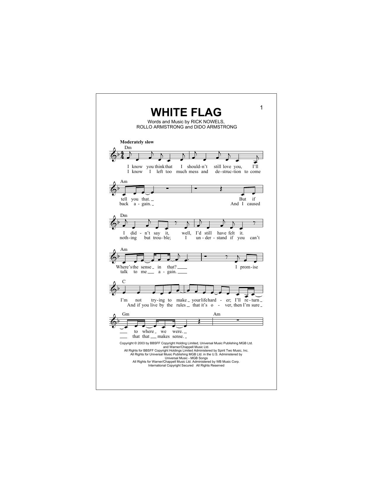White Flag Sheet Music