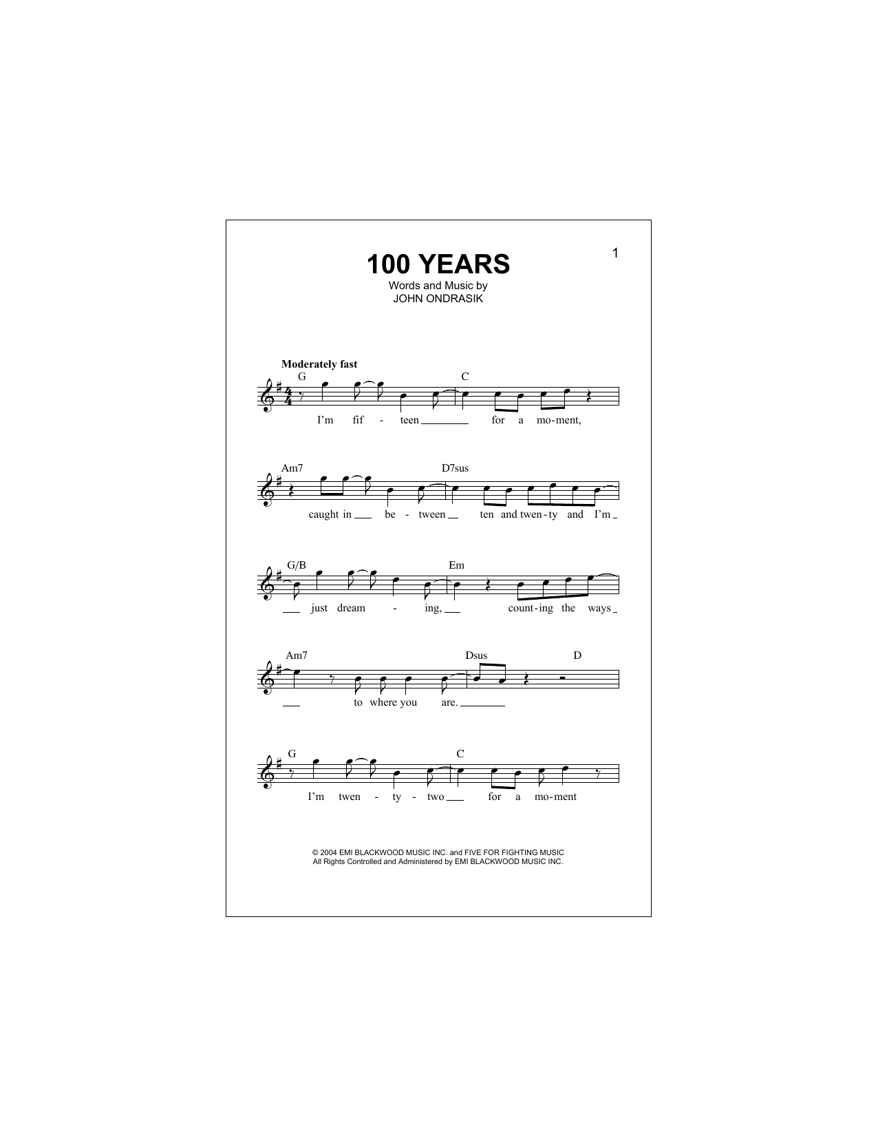 100 Years (Lead Sheet / Fake Book)