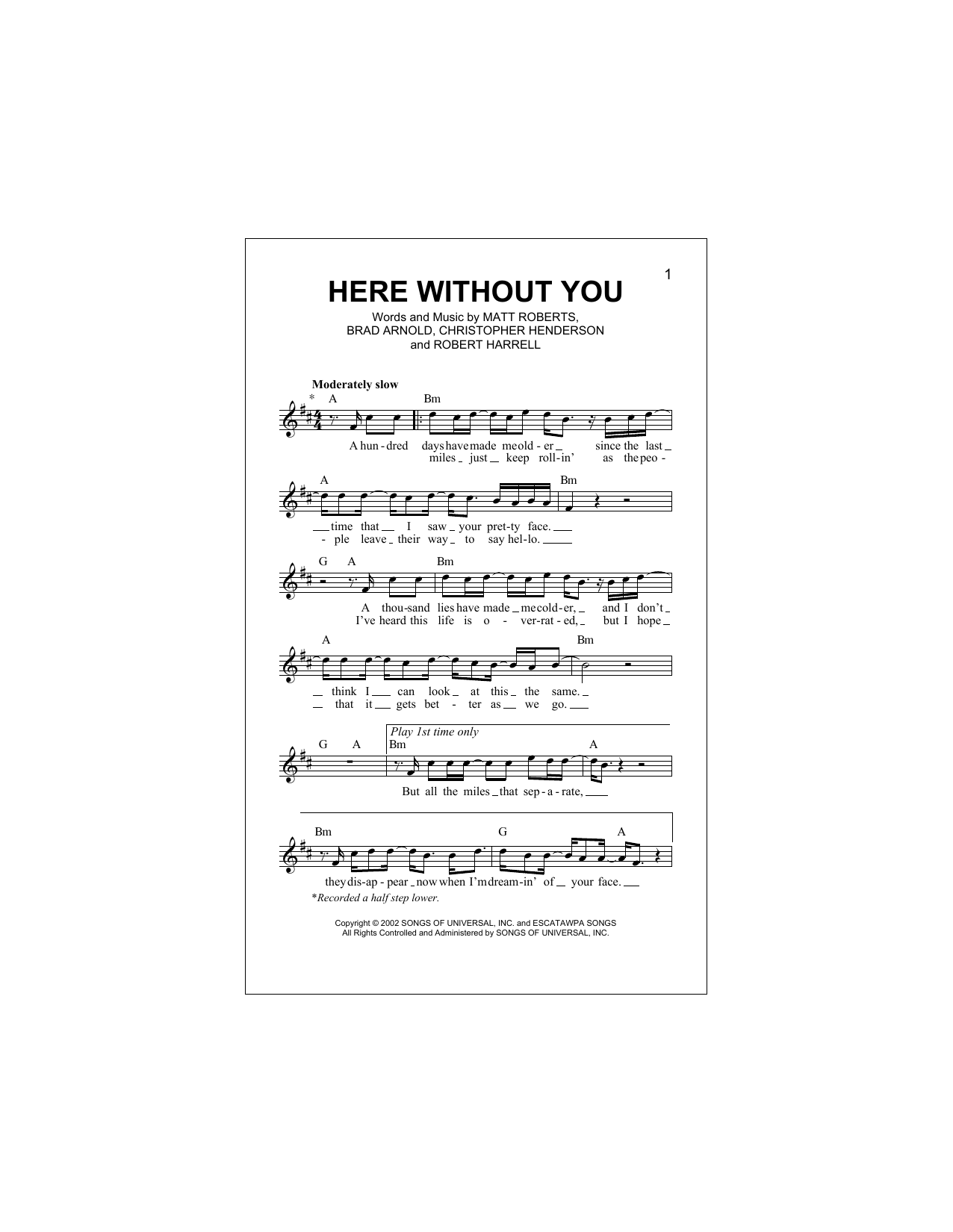 Here Without You Sheet Music