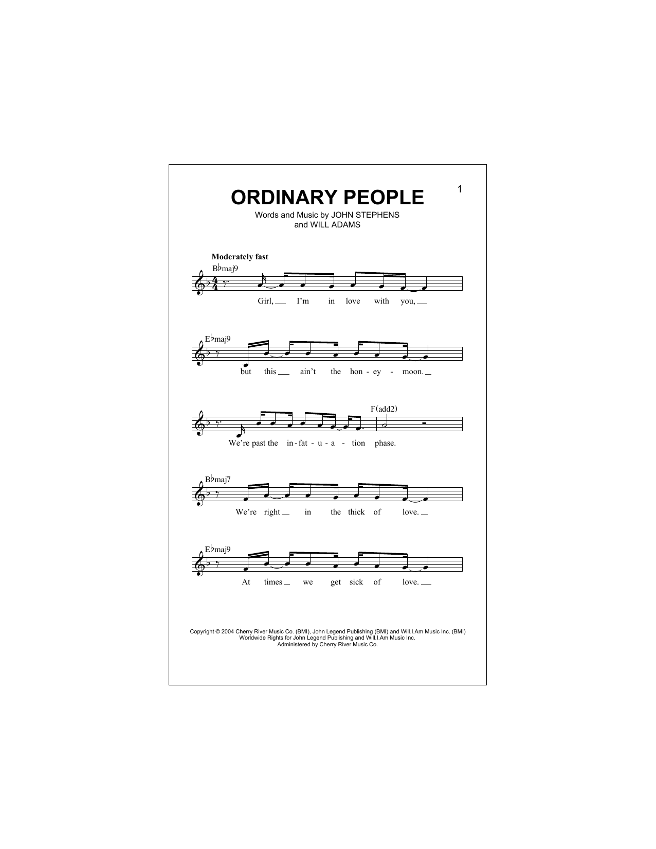 Ordinary People Sheet Music