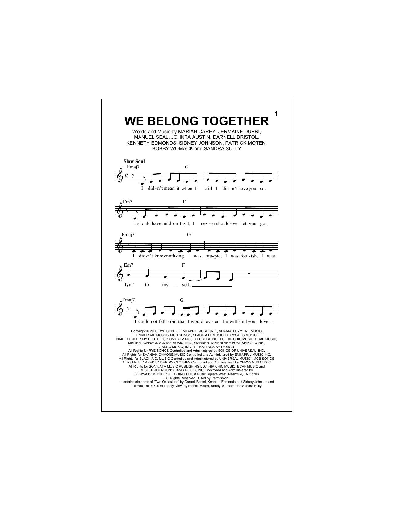 We Belong Together Sheet Music