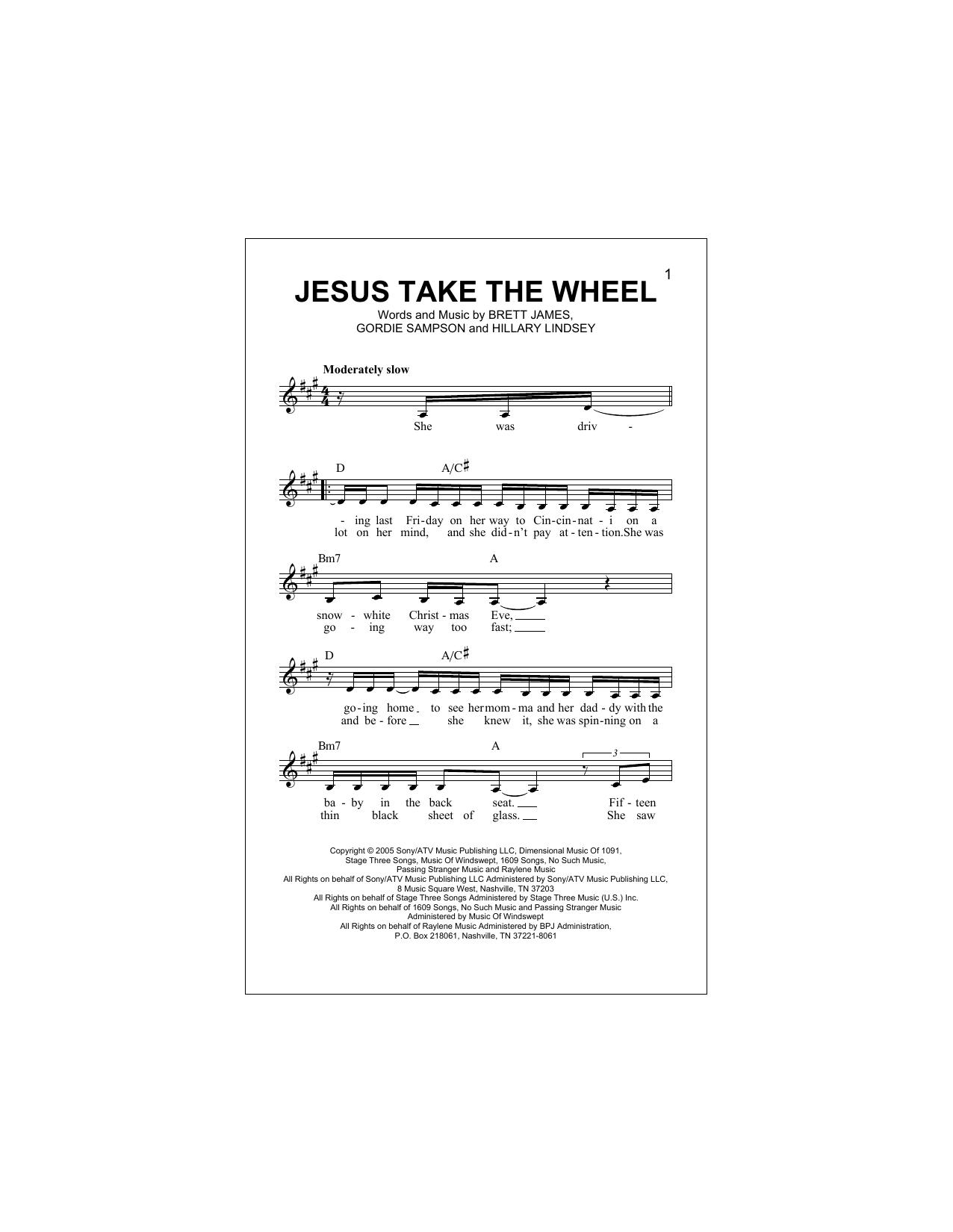 Jesus Take The Wheel Carrie Underwood Melody Line Lyrics Chords