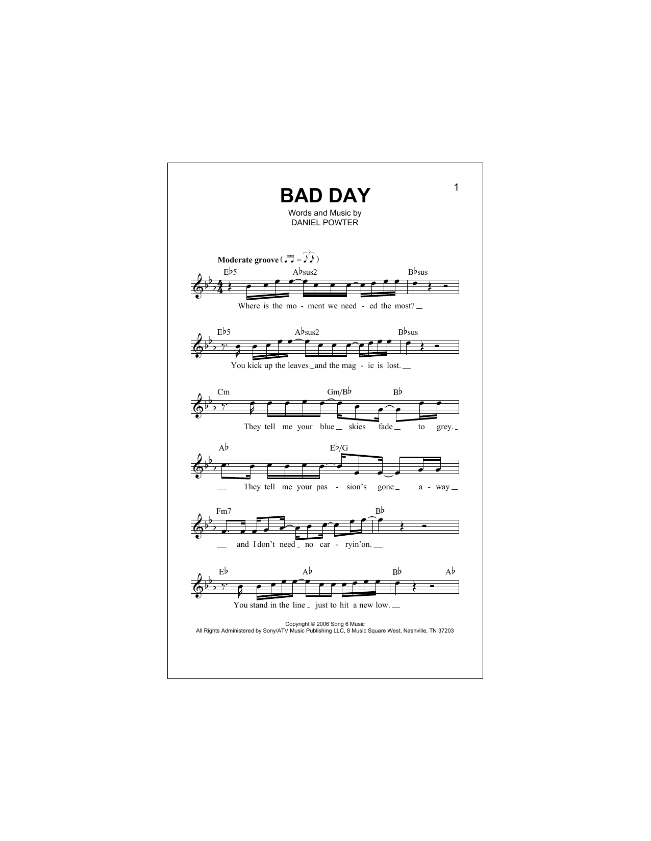 Bad Day Sheet Music