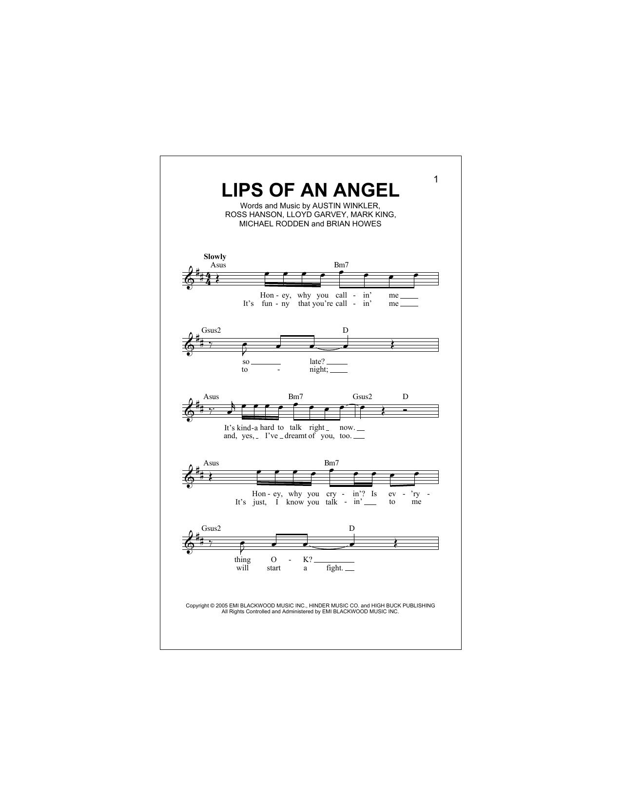 Lips Of An Angel Partituras Digitales