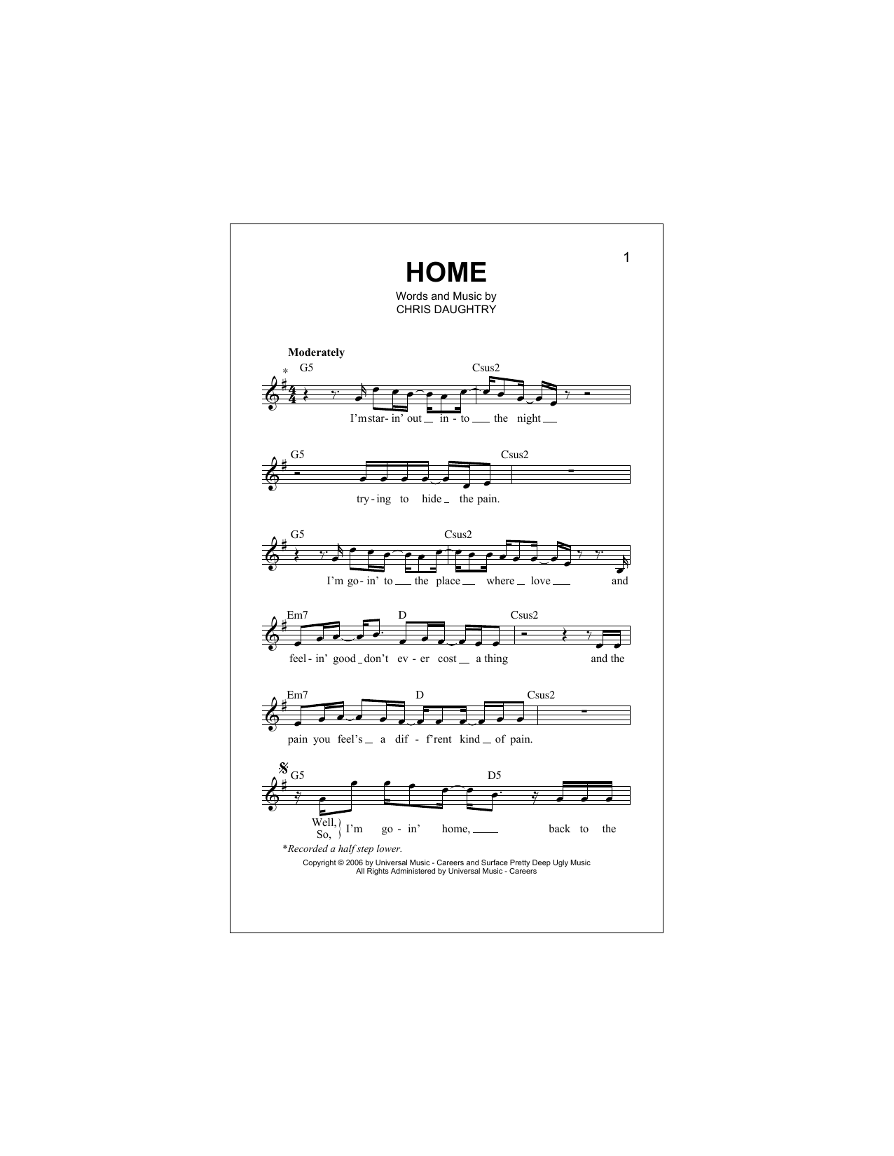 Home (Lead Sheet / Fake Book)