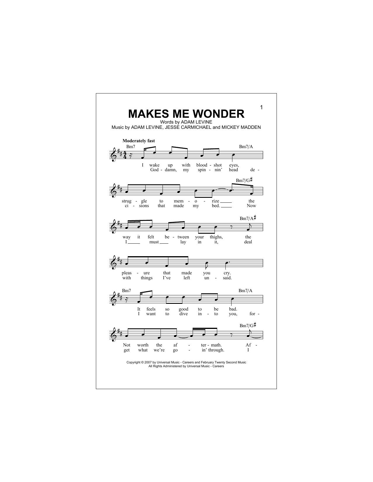 Makes Me Wonder Sheet Music
