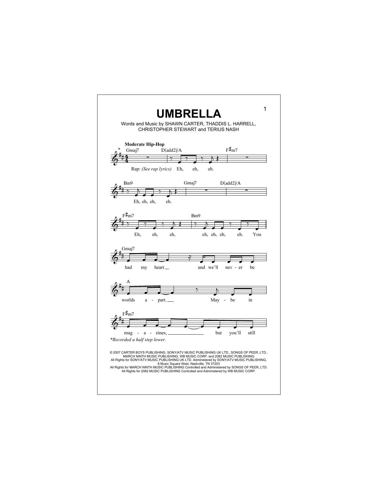 Umbrella (feat. Jay-Z) Sheet Music