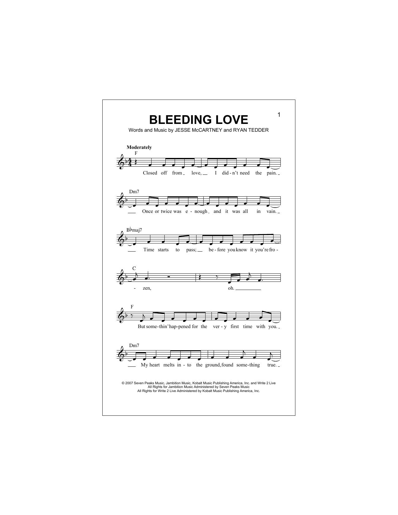 bleeding love text