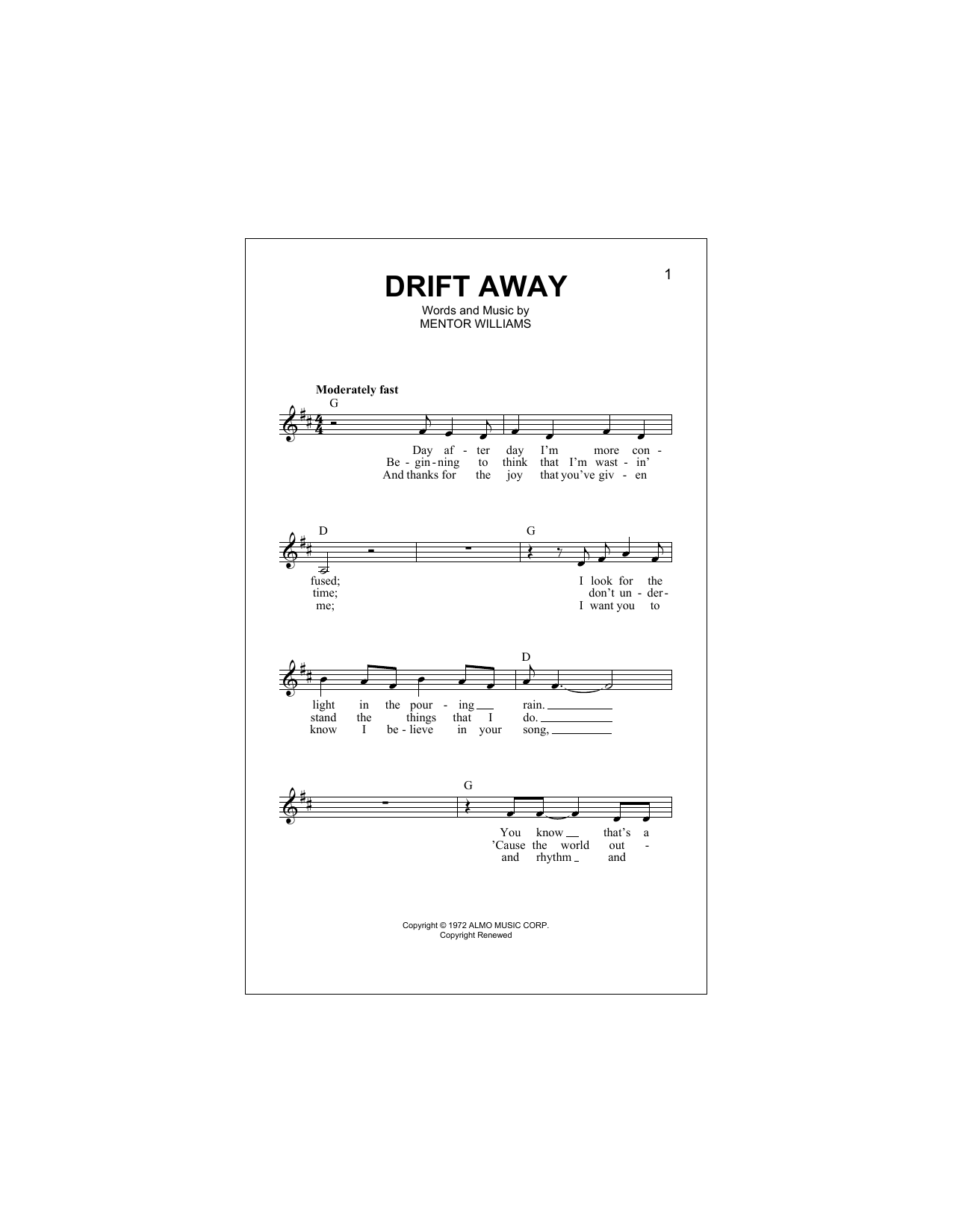 Drift Away (feat. Dobie Gray) Sheet Music