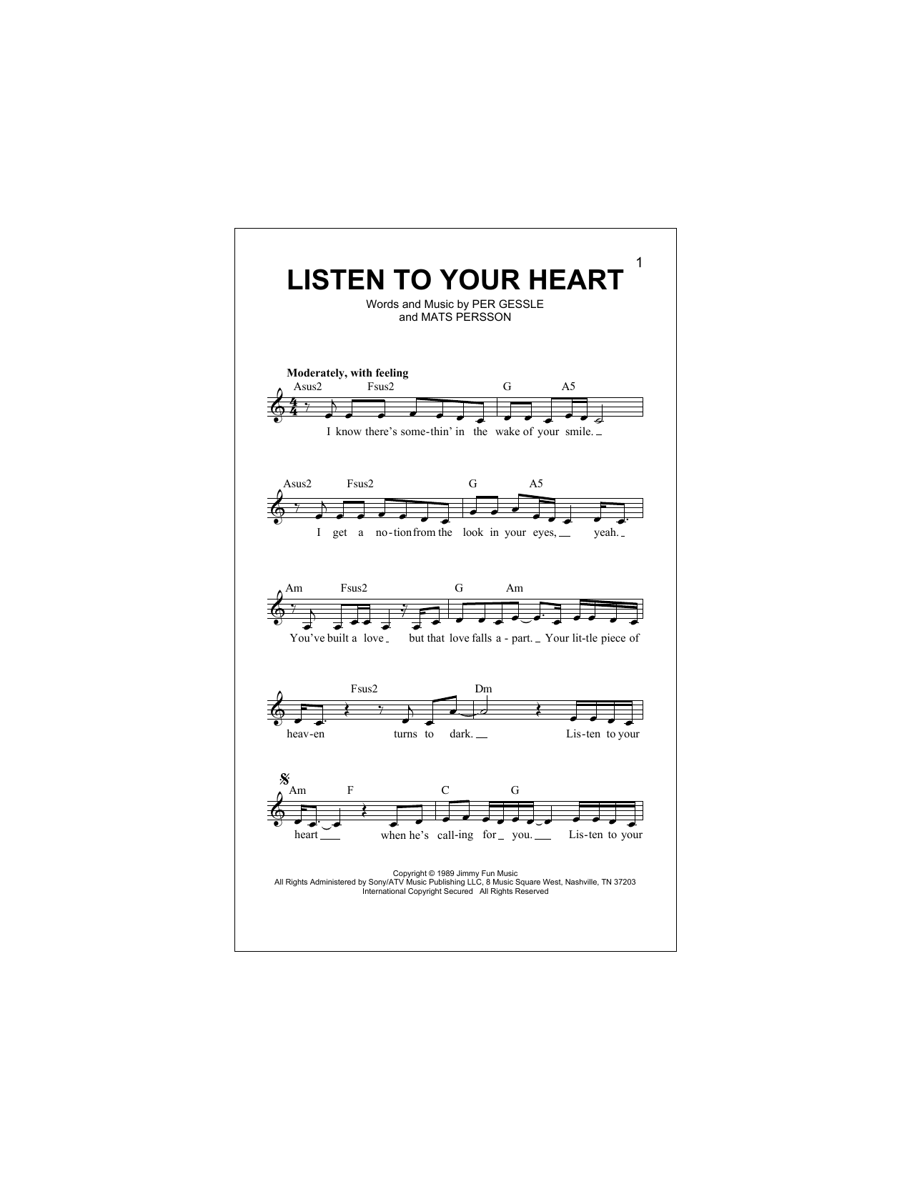 Listen To Your Heart (Lead Sheet / Fake Book)