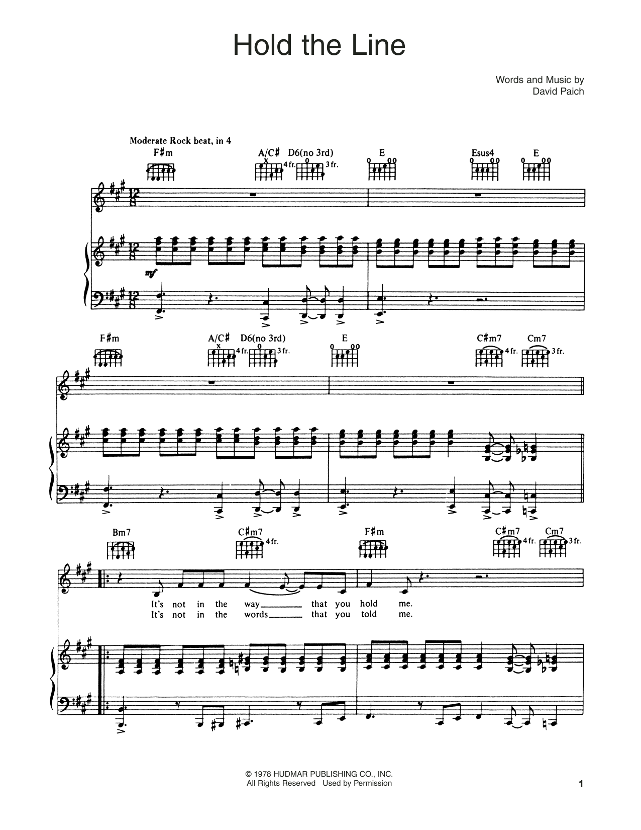 Hold The Line (Piano, Vocal & Guitar (Right-Hand Melody))