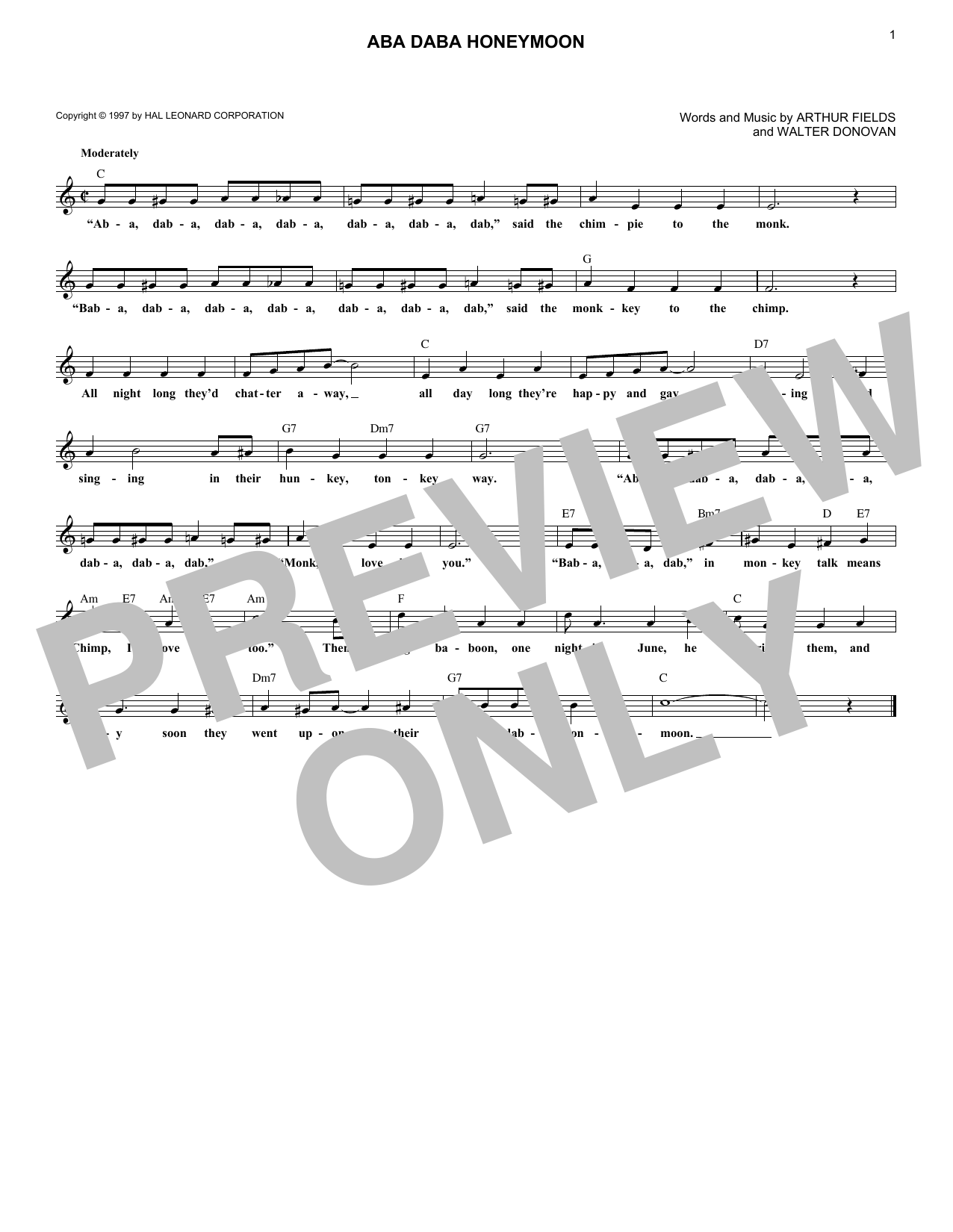 Aba Daba Honeymoon Sheet Music